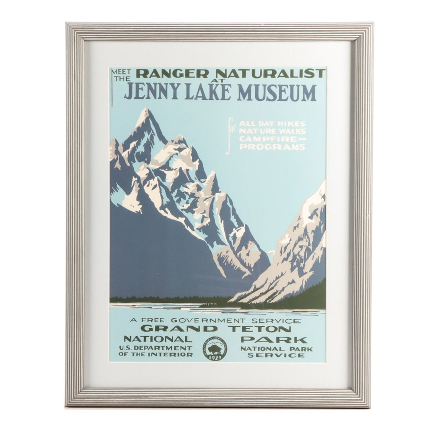 Reproduction Of Vintage Wpa Travel Poster For Grand Teton National Park Ebth