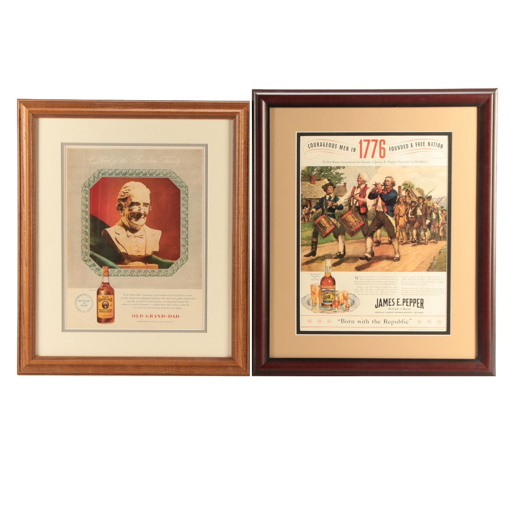 Two Circa 1940s Vintage Print Advertisements for Kentucky Bourbon