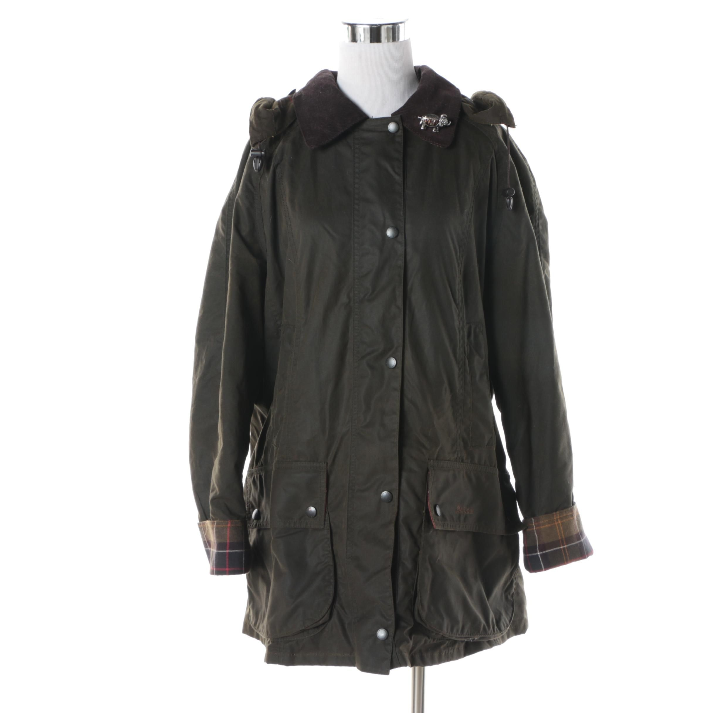Women's Barbour Olive Green Anorak with Detachable Hood