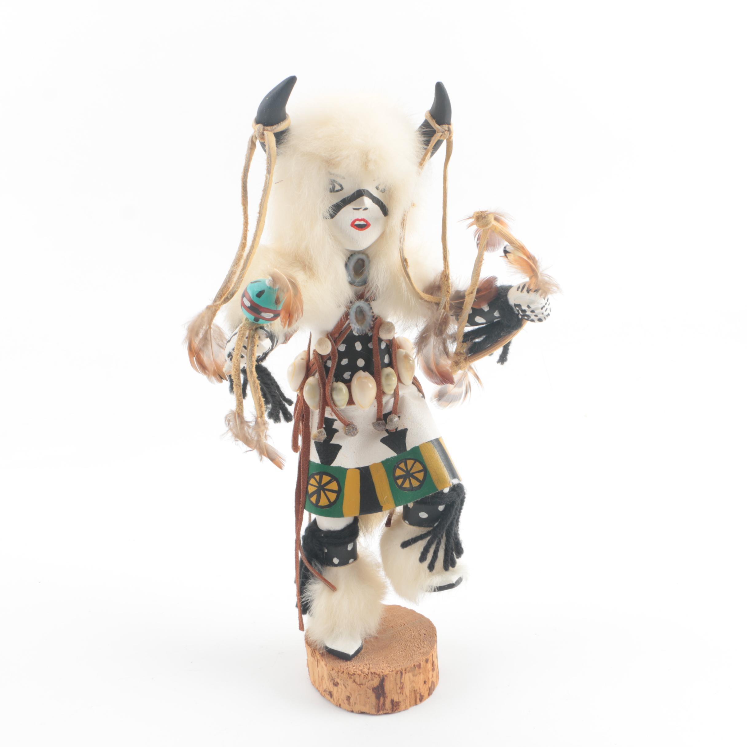 "Juanita Clark Hopi ""Kocha Mosairu"" or ""White Buffalo Dancer"" Kachina Doll"