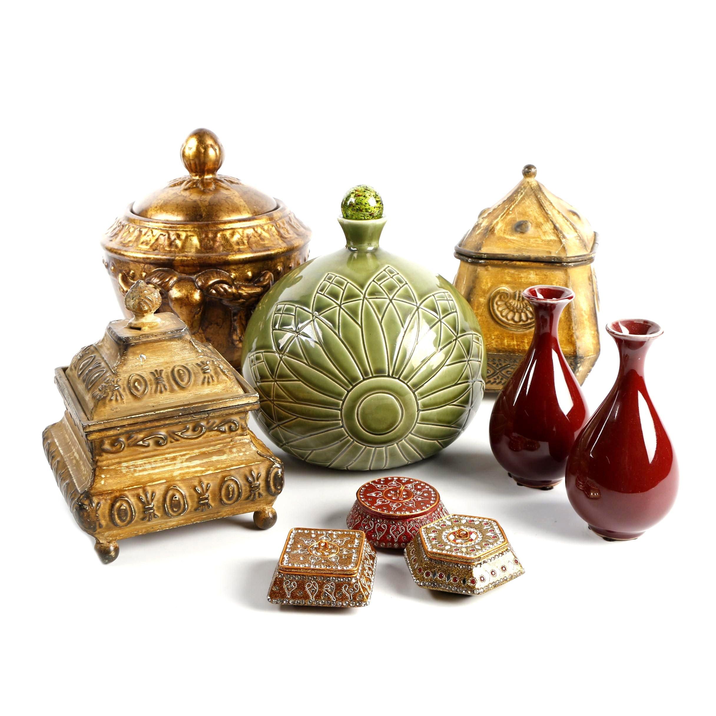 Ornate Gold Toned Decorative Boxes, Jeweled Trinket Boxes, Vases, and Jar