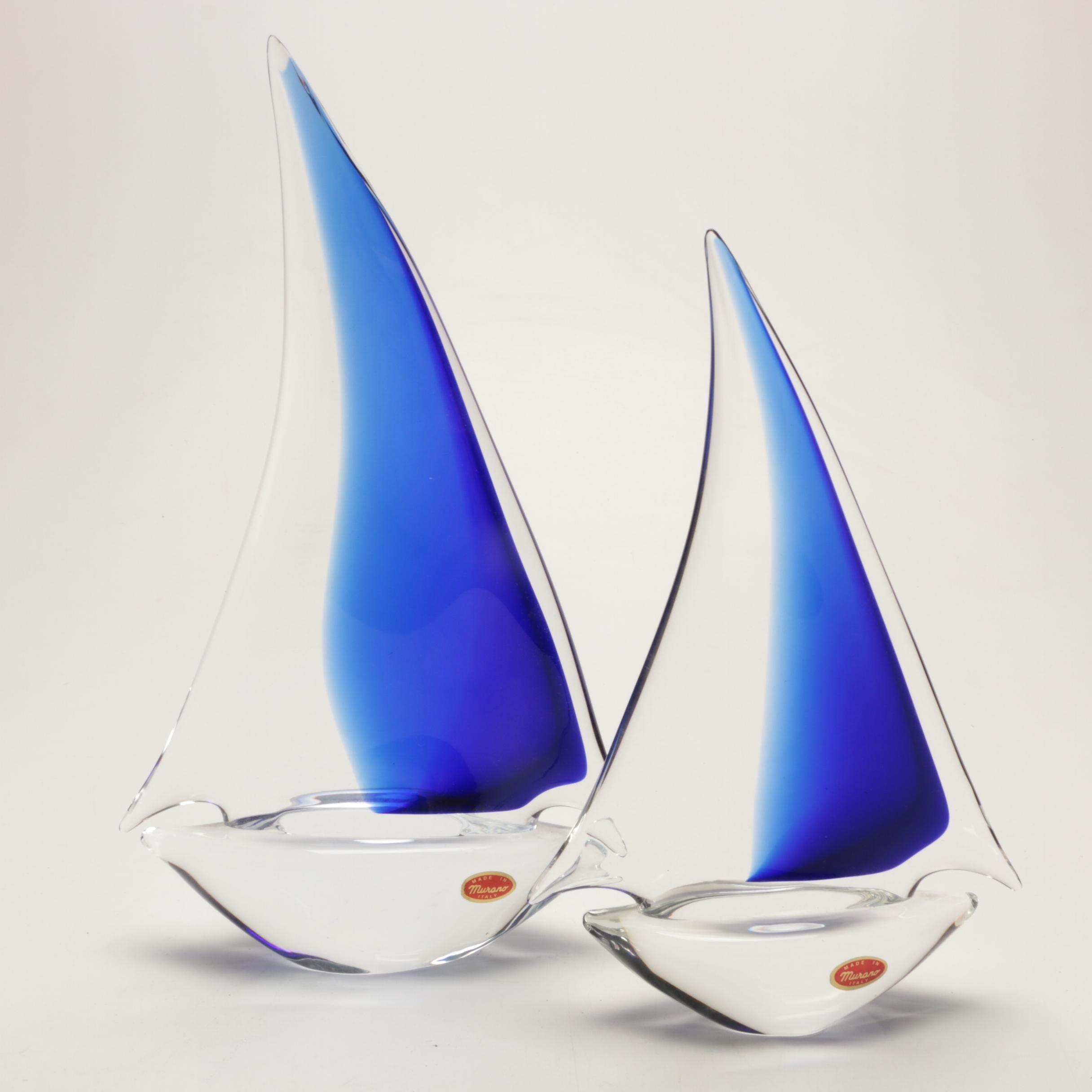 Pair of Murano Glass Sailboats