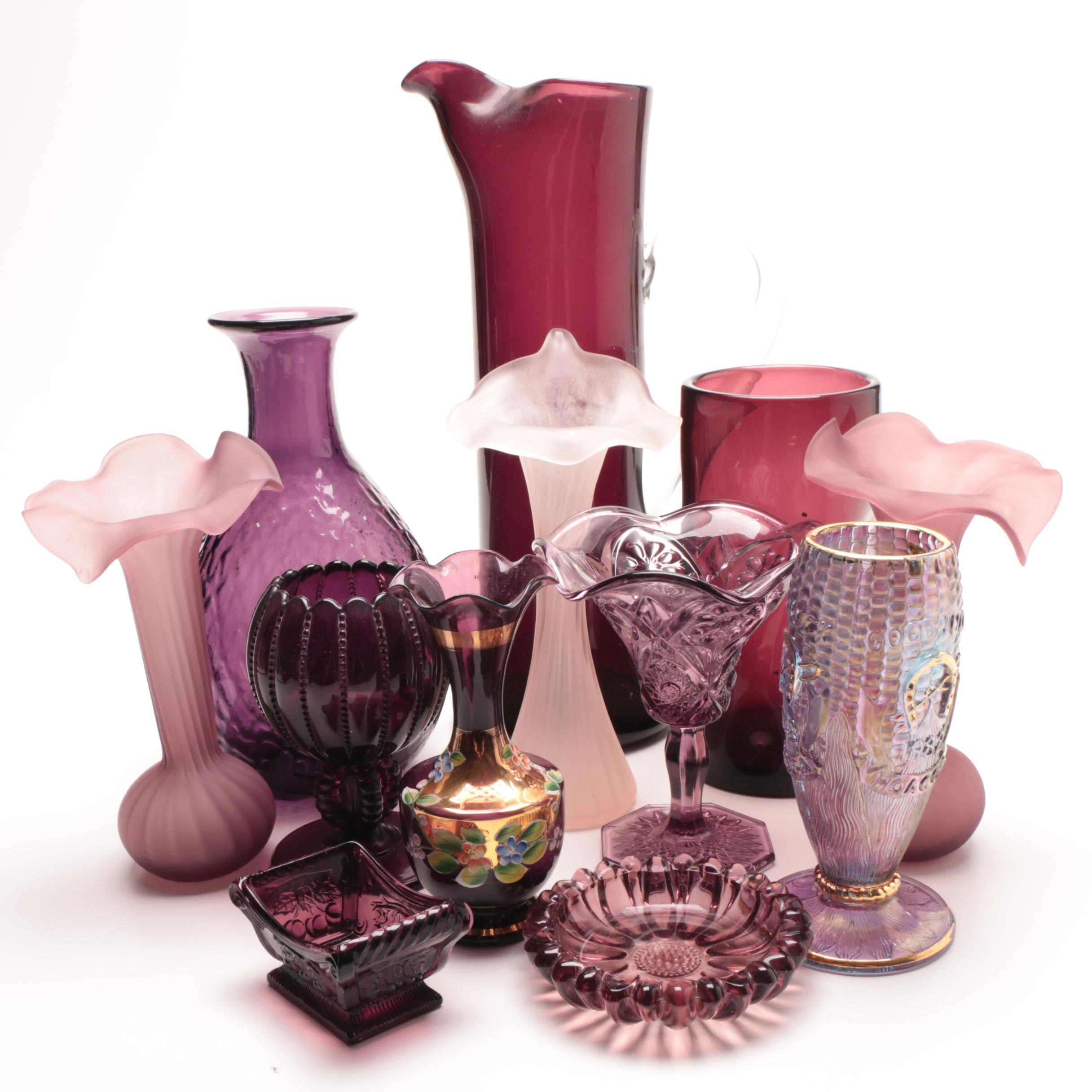 """Group of Purple Art Glass with a Fenton """"Home of America's Corn Growers Assoc."""""""