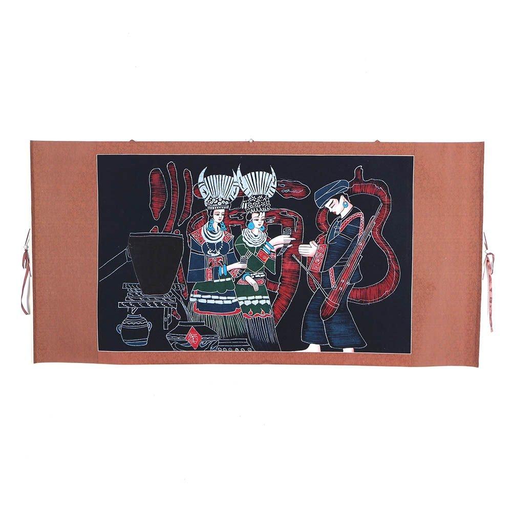 Chinese Gouache Embellished Batik Hand Scroll