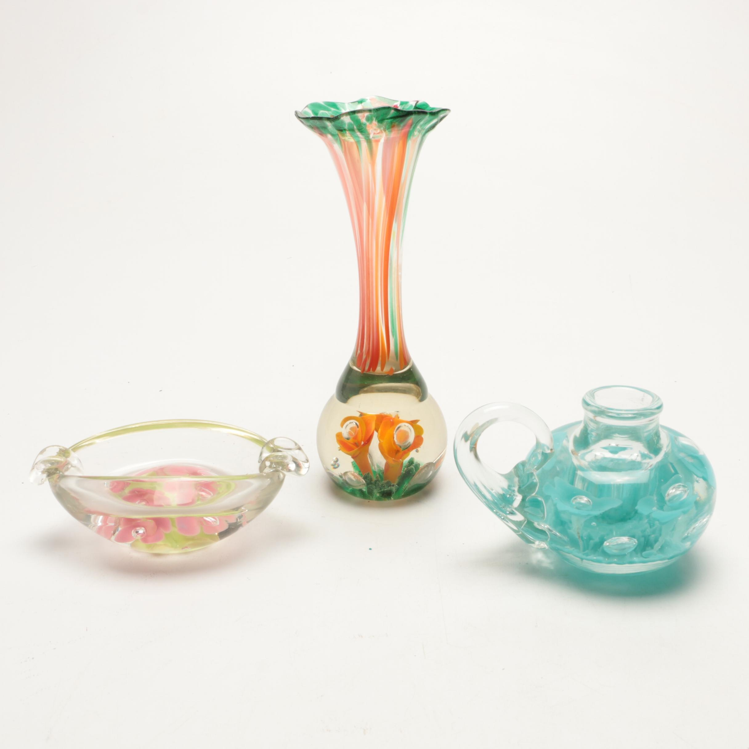Blown Art Glass Vase, Candle Holder and Ash Receiver
