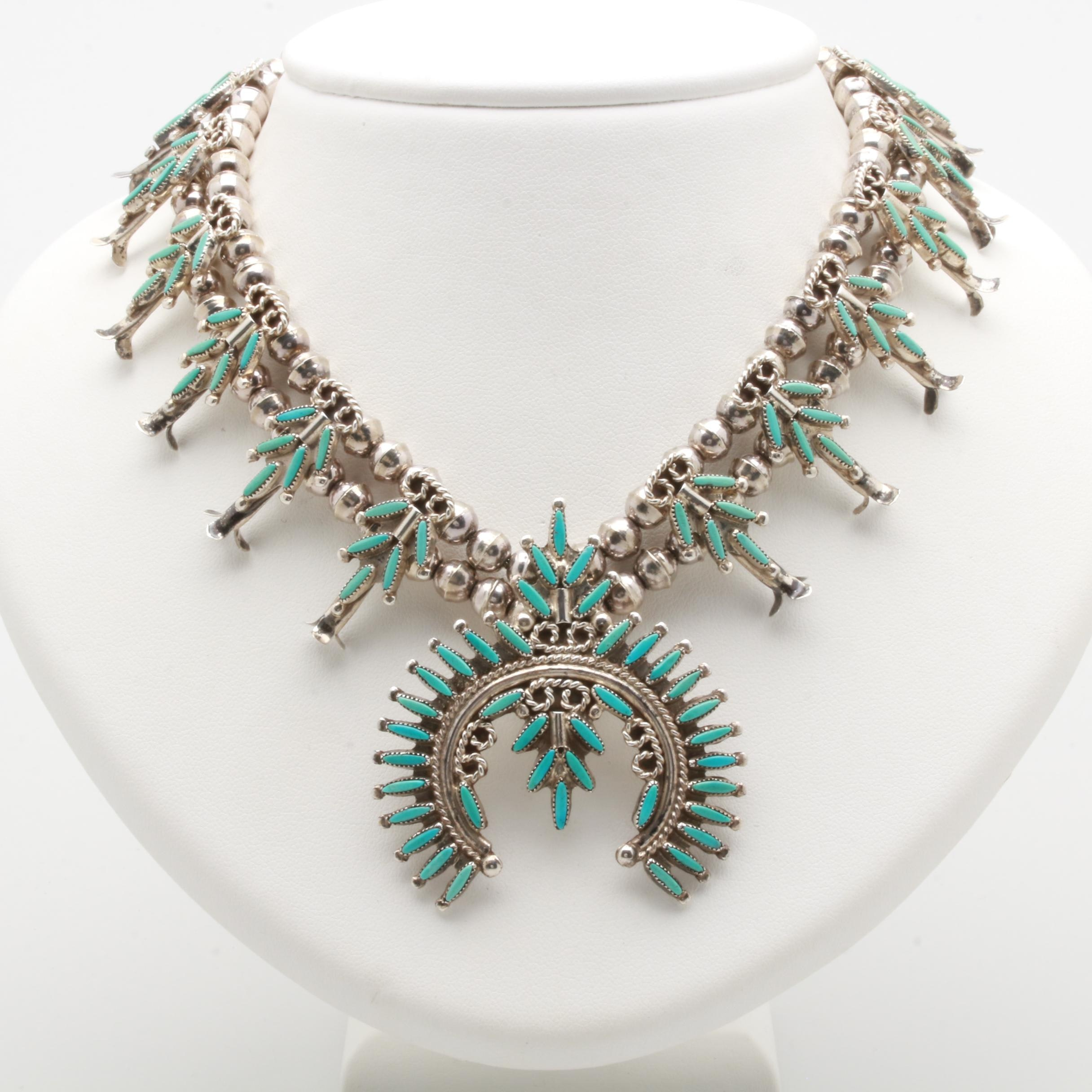 Southwestern Style Sterling Silver Turquoise Squash Blossom Necklac