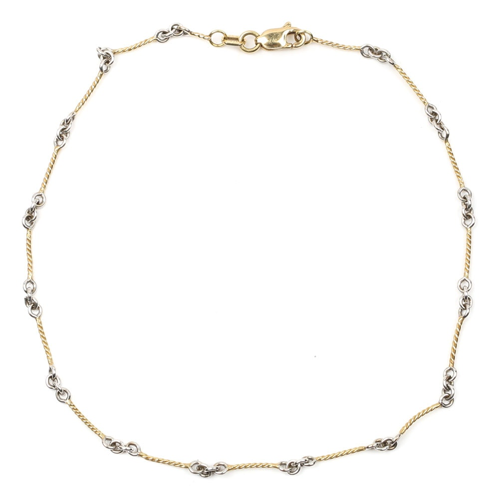 14K Yellow and White Gold Anklet