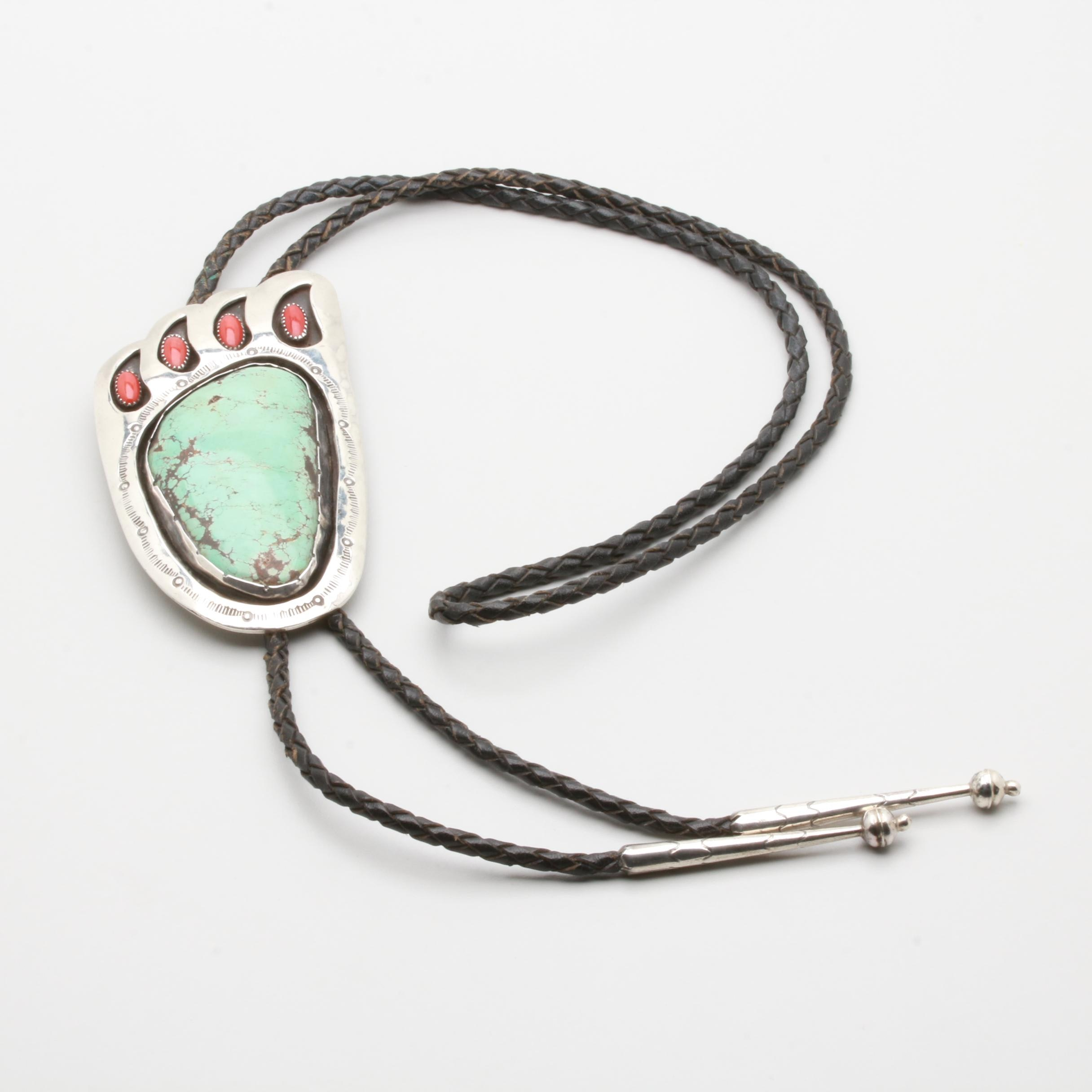 Kenny Jack Sterling Silver Turquoise and Coral Bear Paw Shadow Box Bolo Tie