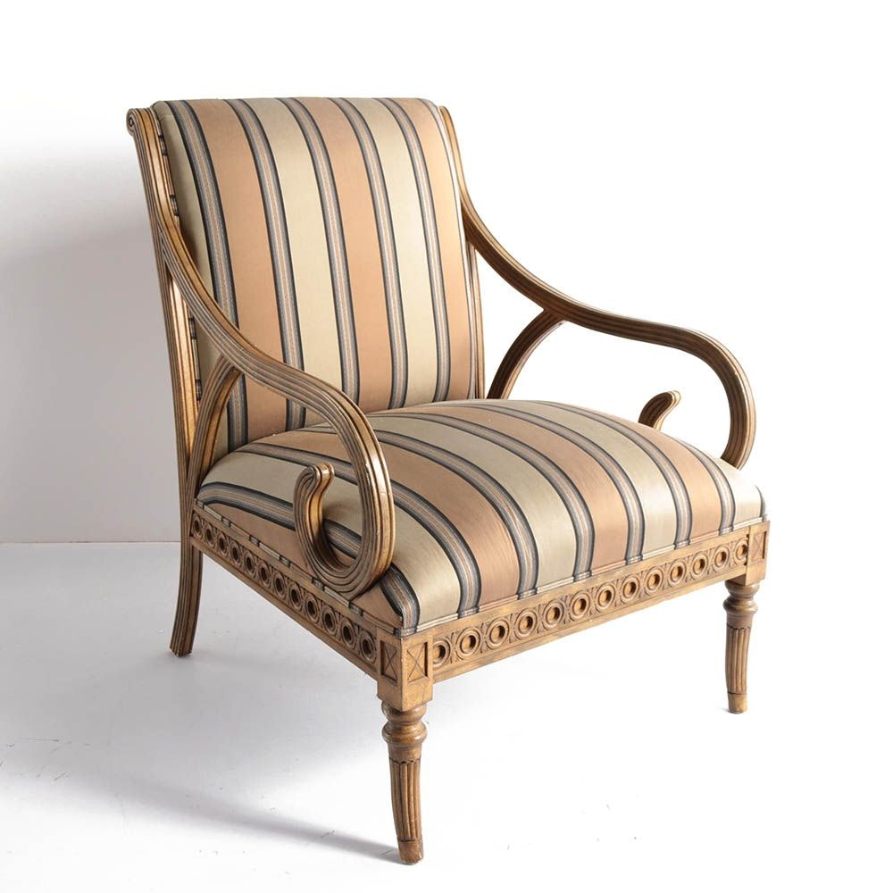 Regency Style Upholstered Armchair