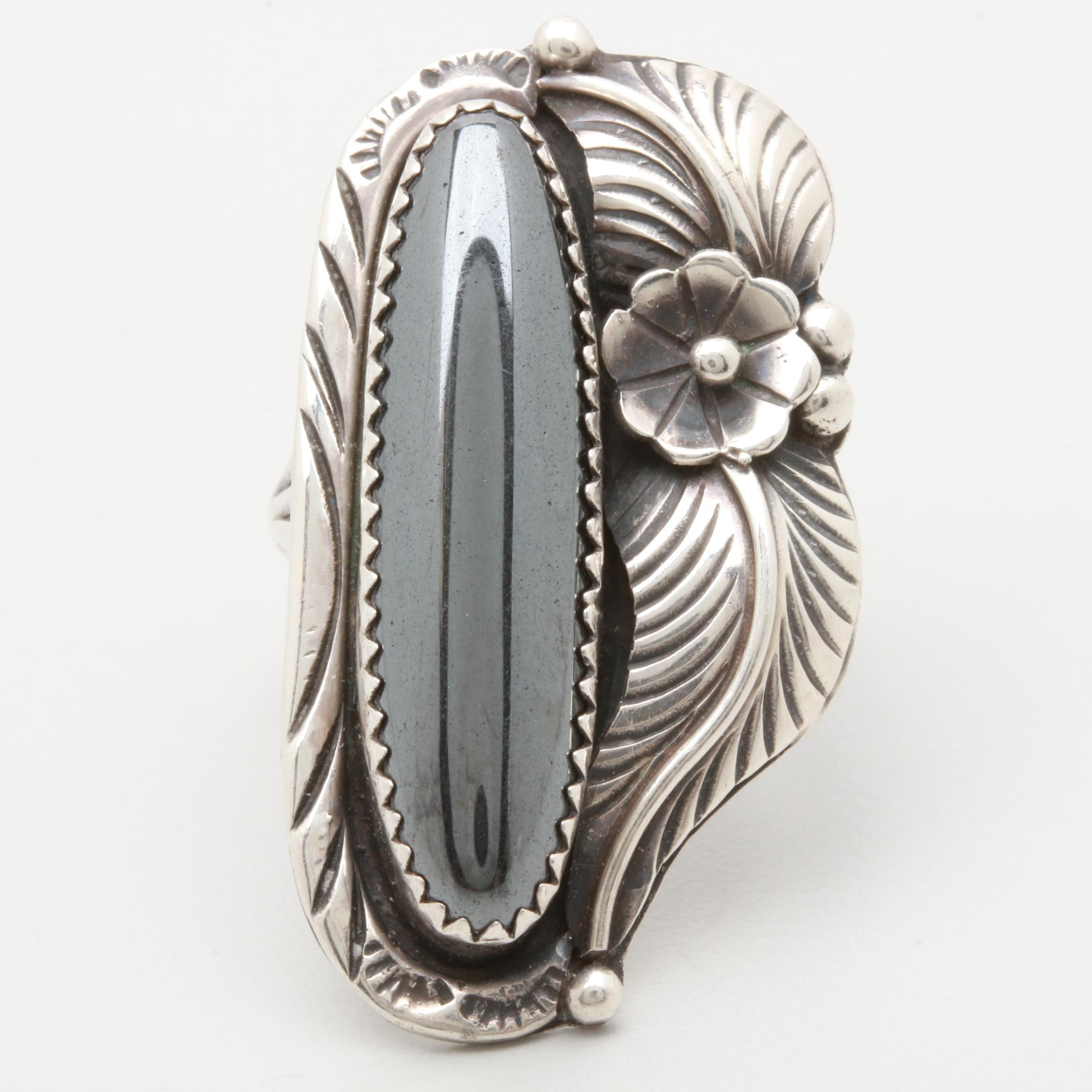 L. Charley Navajo Diné Sterling Silver Hematite Ring