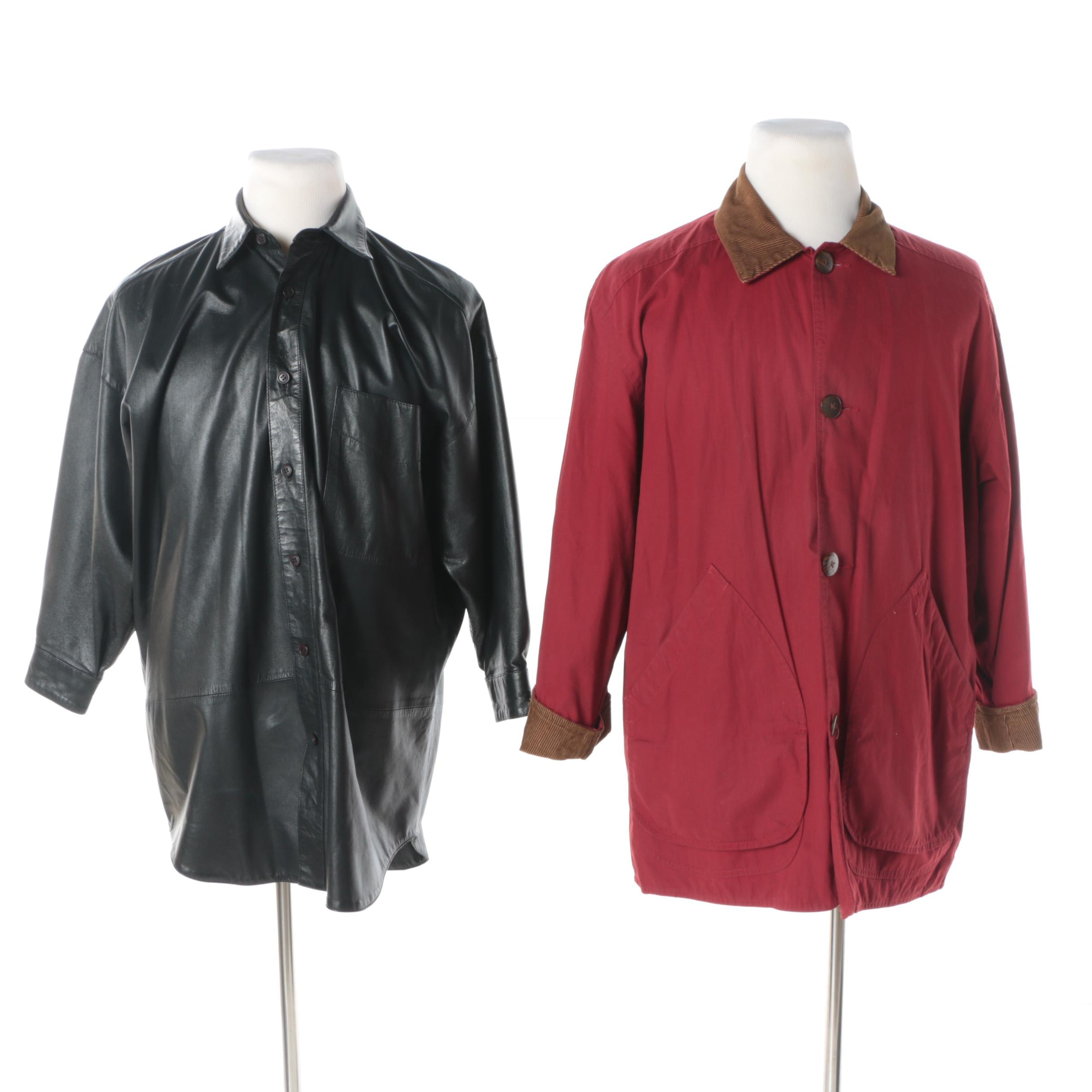 Men's Vintage Go Silk for L'Zinger Leather Jacket and J.Crew Red Cotton Jacket
