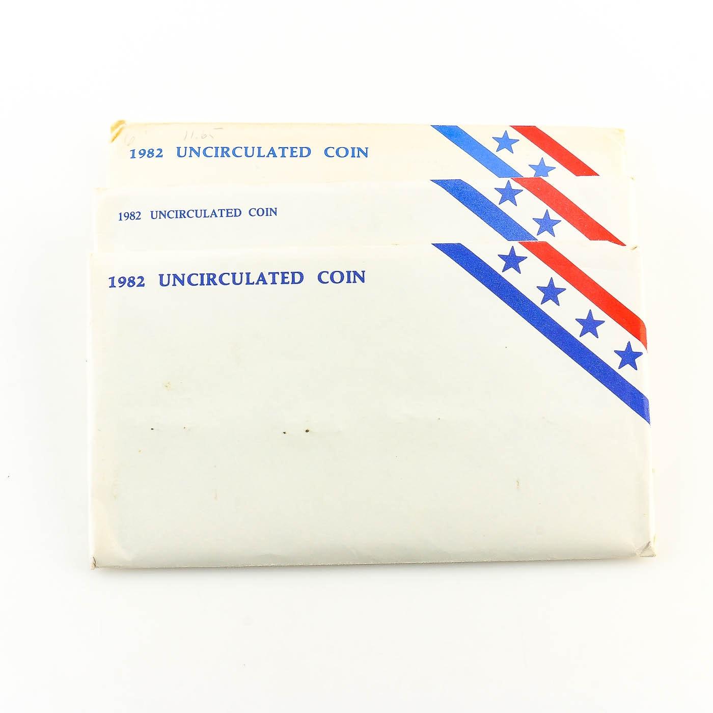 Three 1982 U.S. Uncirculated Coin Sets