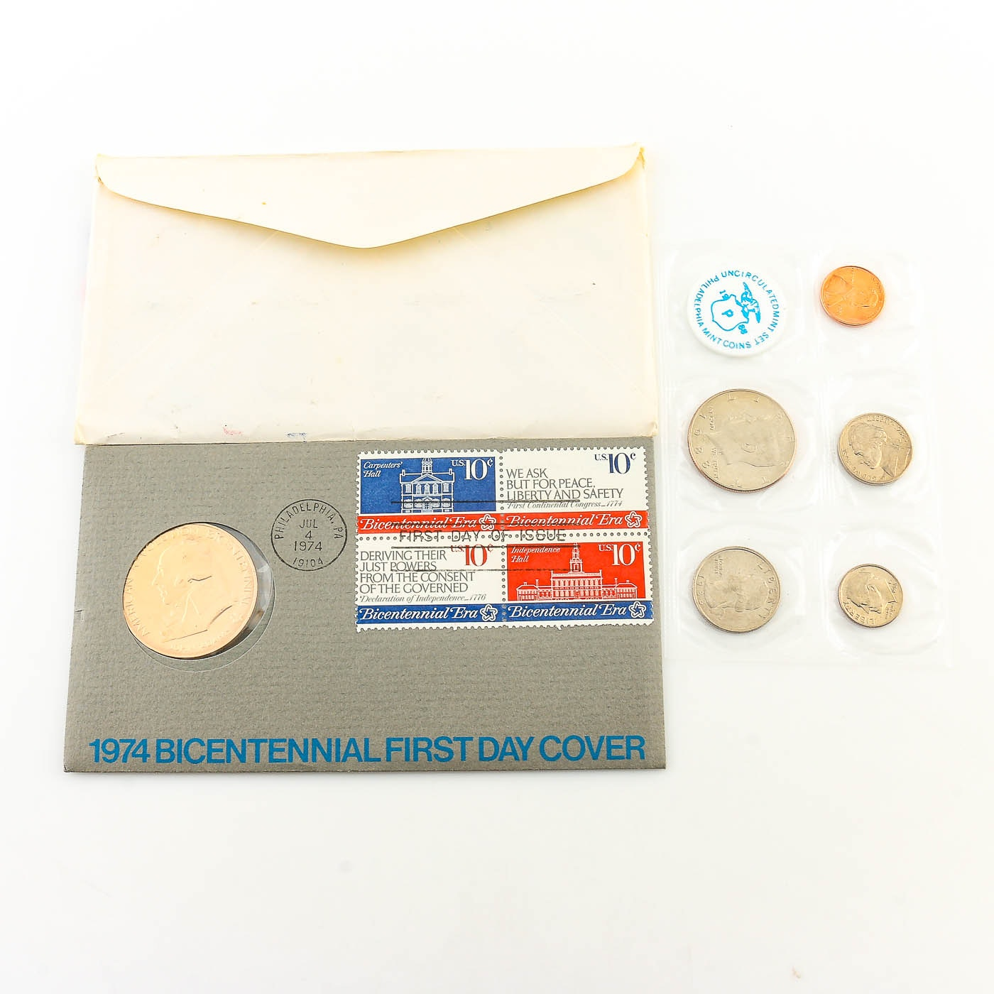 Two Philadelphia Uncirculated Mint Sets and a Bicentennial First Day Cover