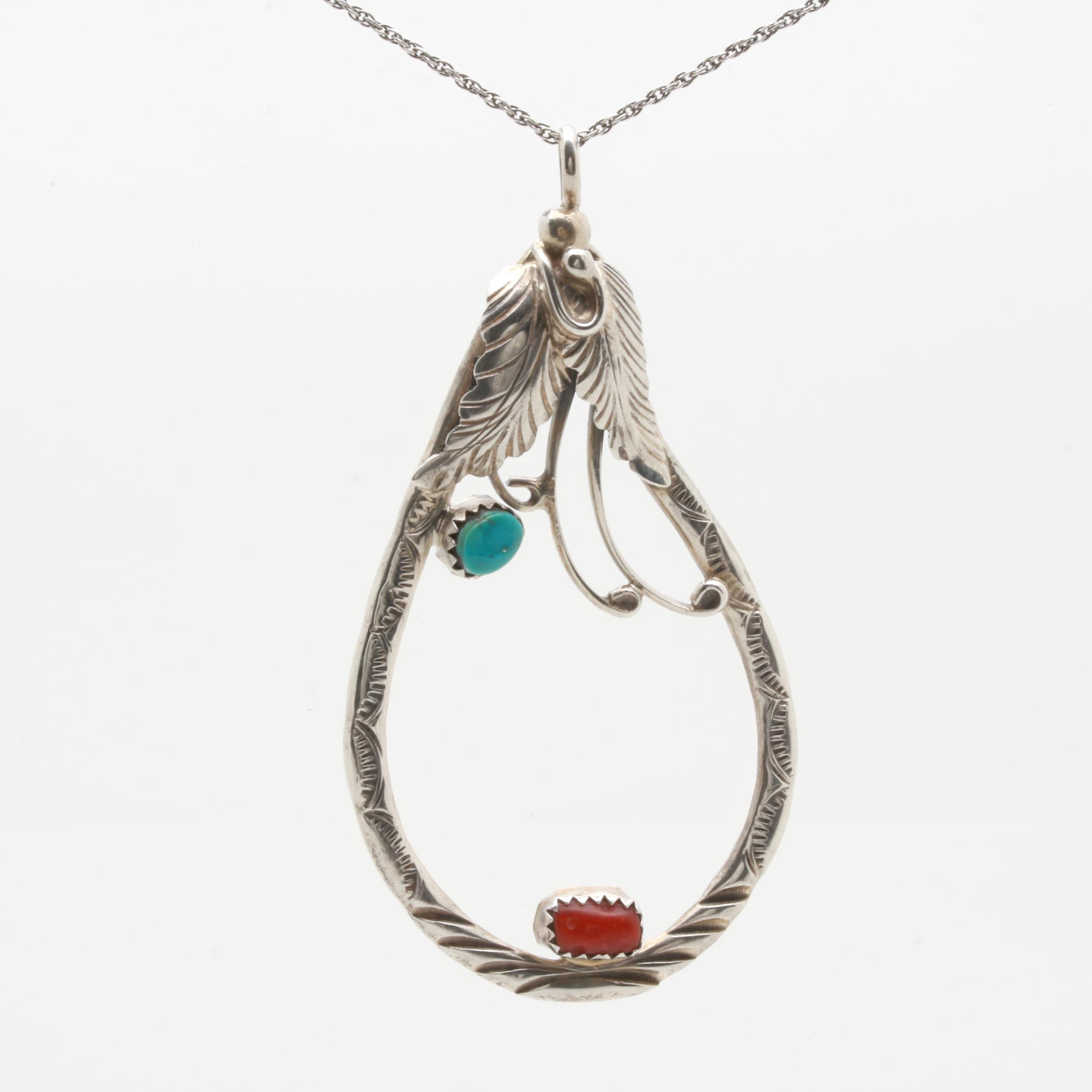 Southwestern Style Sterling Silver Turquoise and Coral Necklace