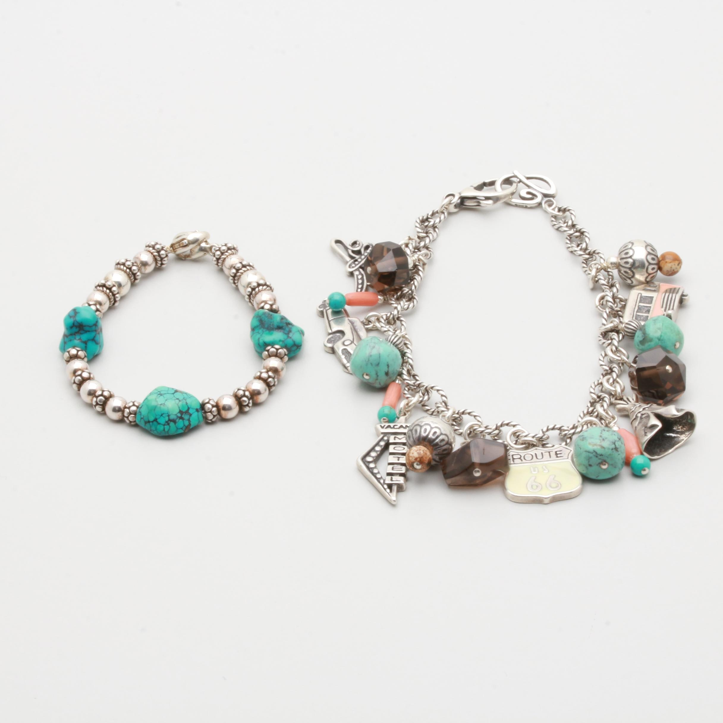 """Sterling Silver Bracelets with Carolyn Pollack """"Route 66"""" Charm Bracelet"""