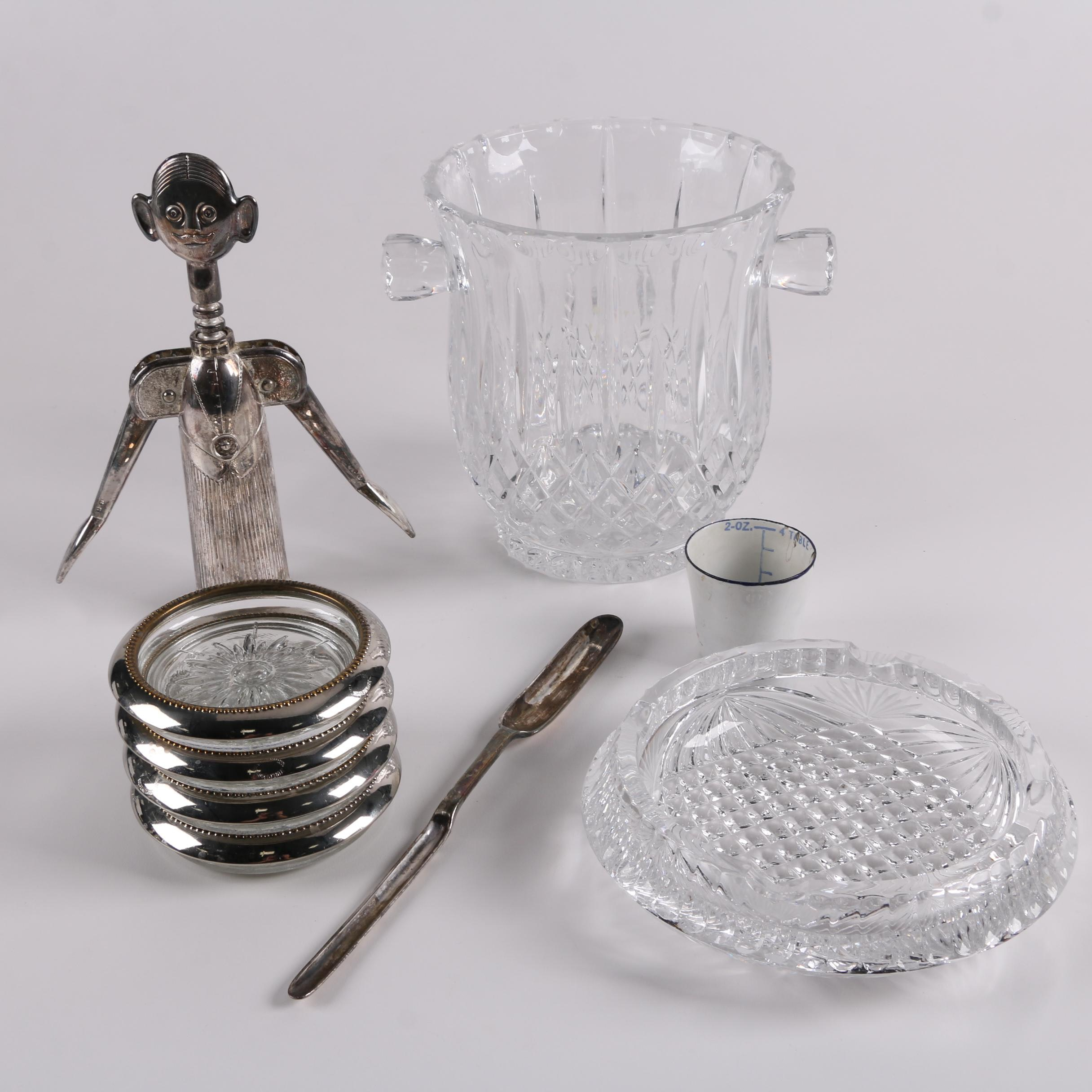 """Silver Plate Rimmed Coasters with """"Sommelier"""" Corkscrew, Marrow Scoop, and More"""