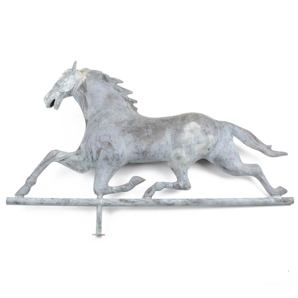 Cast Zinc and Molded Copper Running Horse Weathervane, 19th-Century