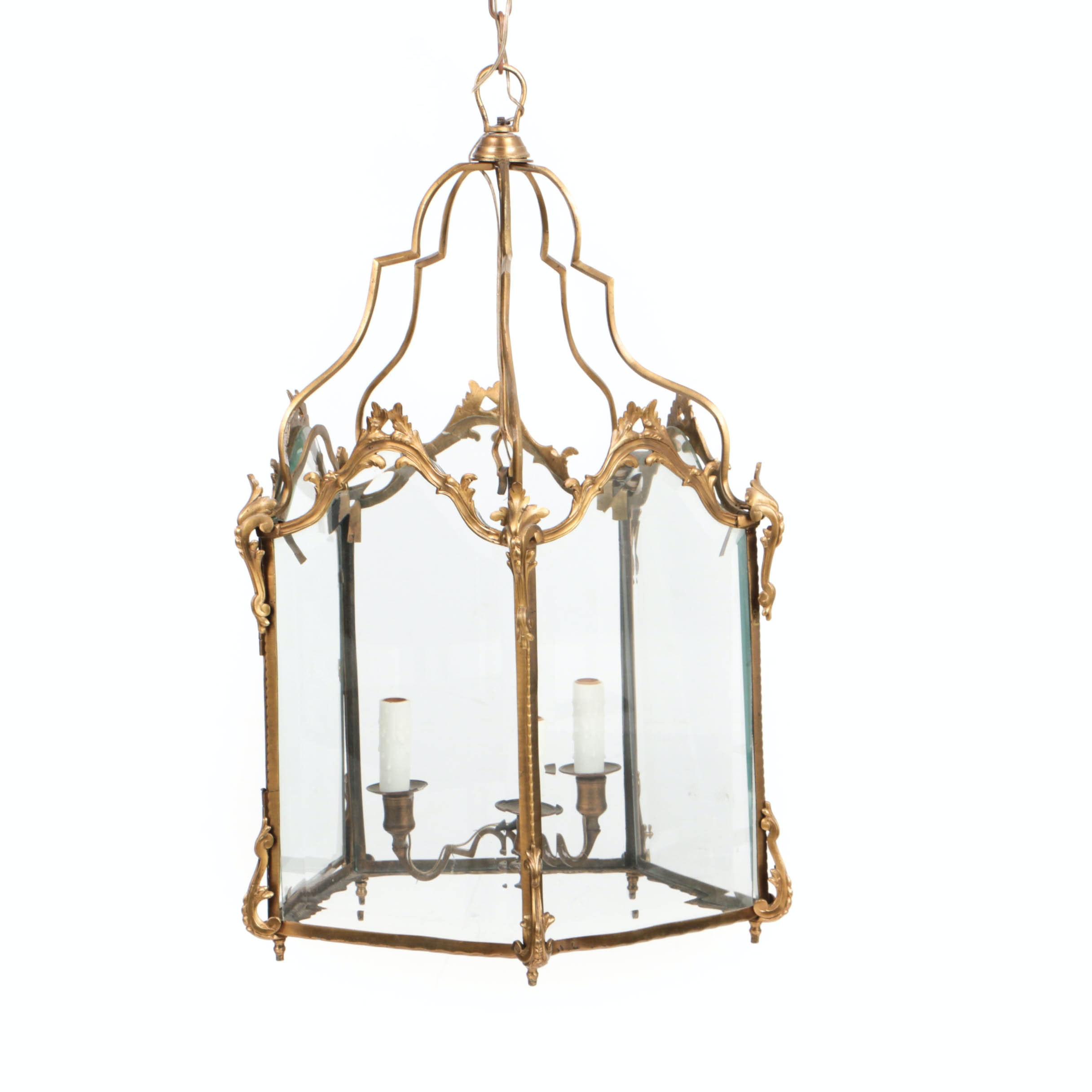 20th Century French Gilt Bronze Pendant Lantern
