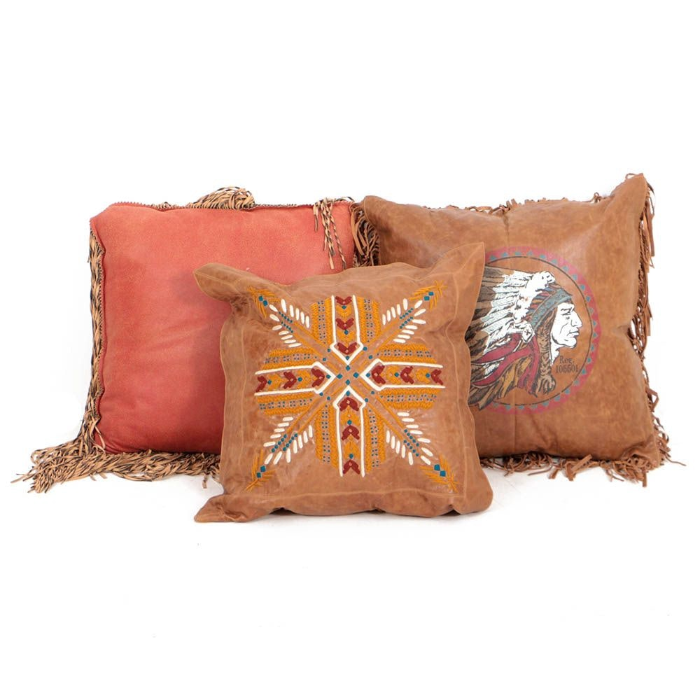 Double D Ranch Leather Throw Pillows
