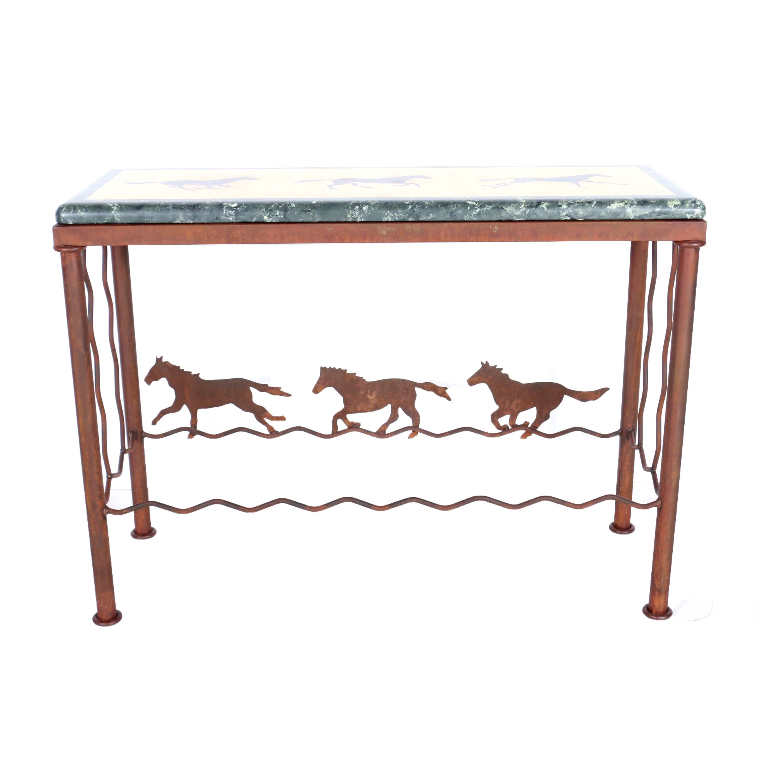Horse Motif Metal Console Table with Laminate Top by Dakota Interiors