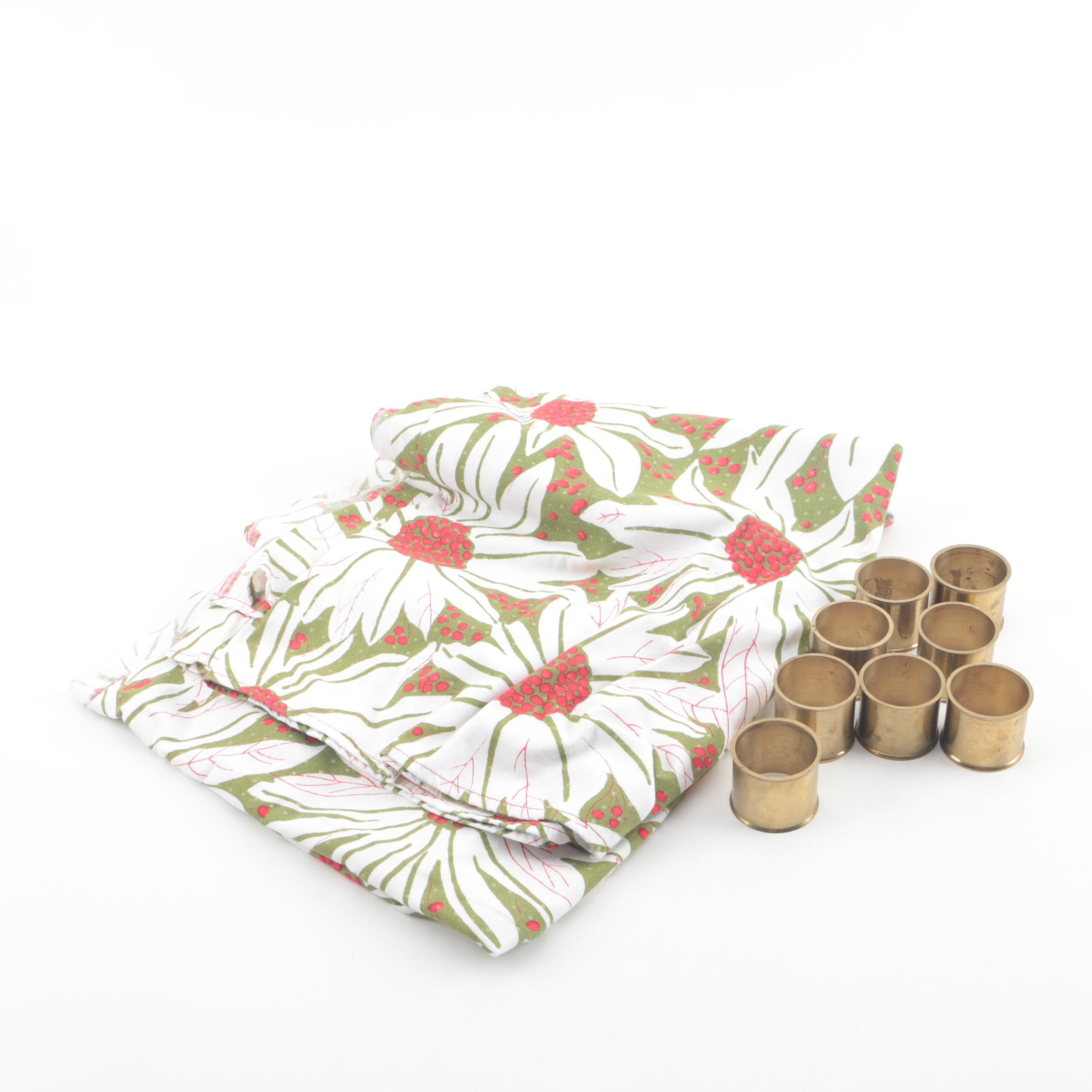 """Brass Napkin Rings and Vera Neumann """"Scarves"""" Tablecloth"""