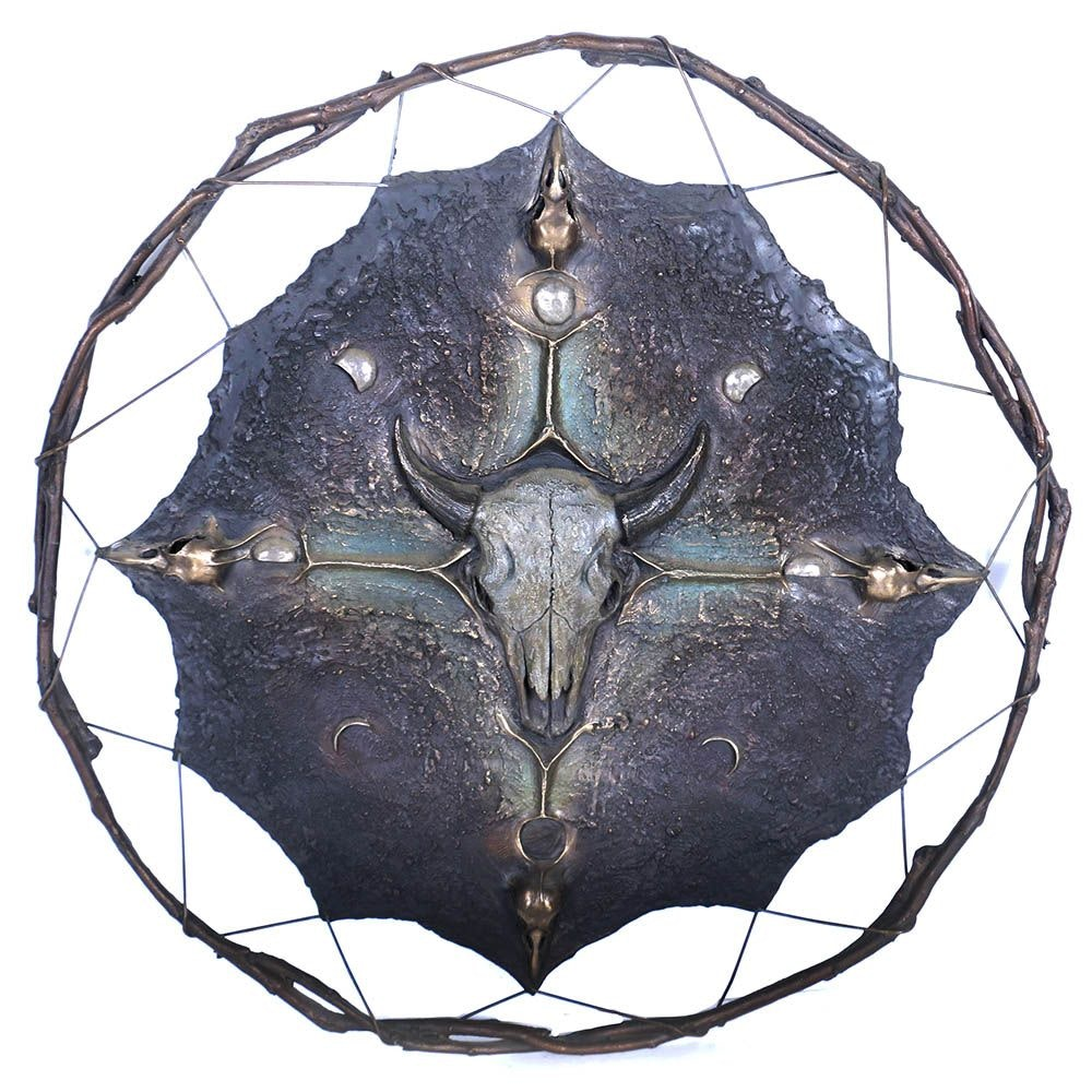 "Grant Standard Bronze Pte Hanwi, ""Buffalo Moon"" Shield Wall Sculpture"