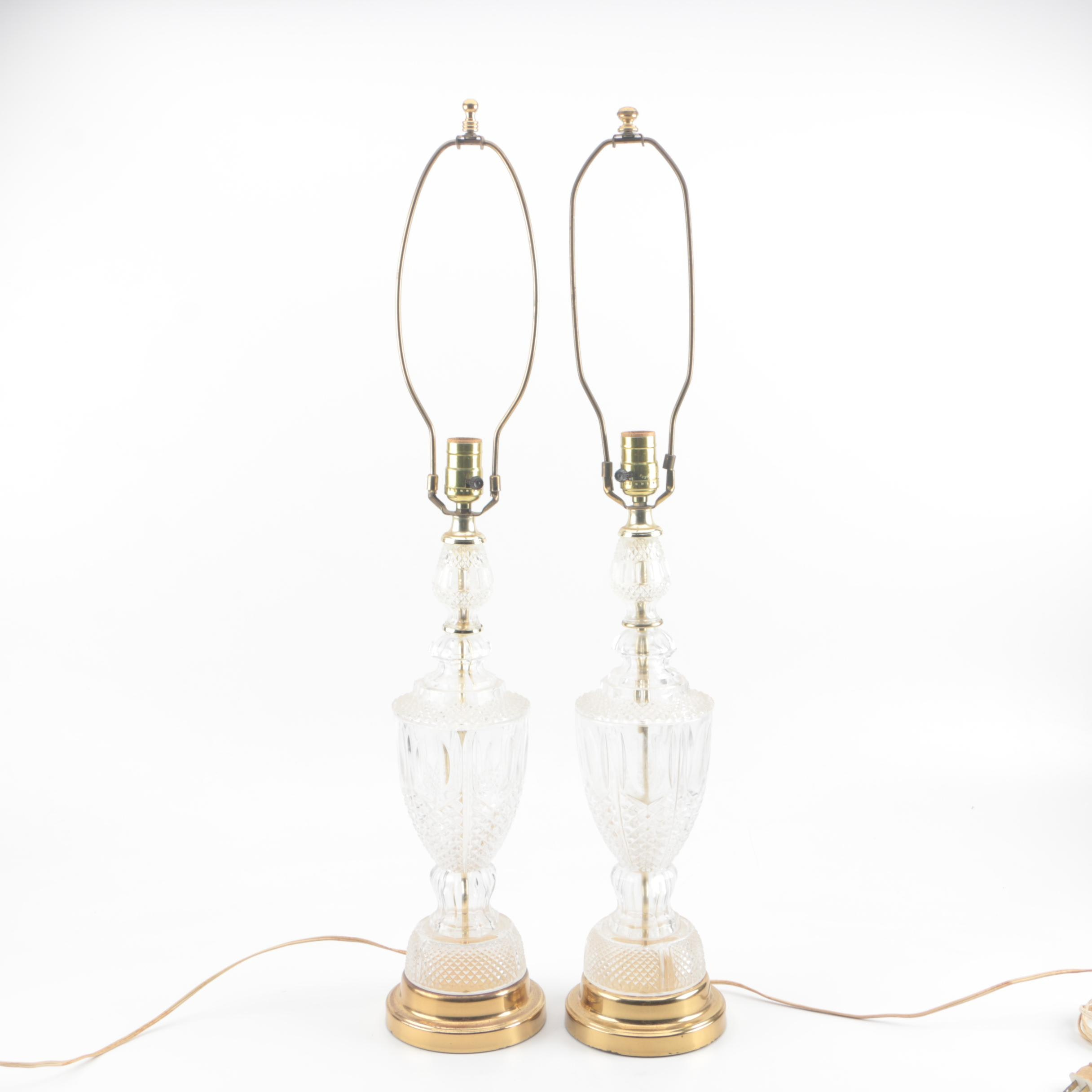 Pressed Glass and Brass Table Lamps