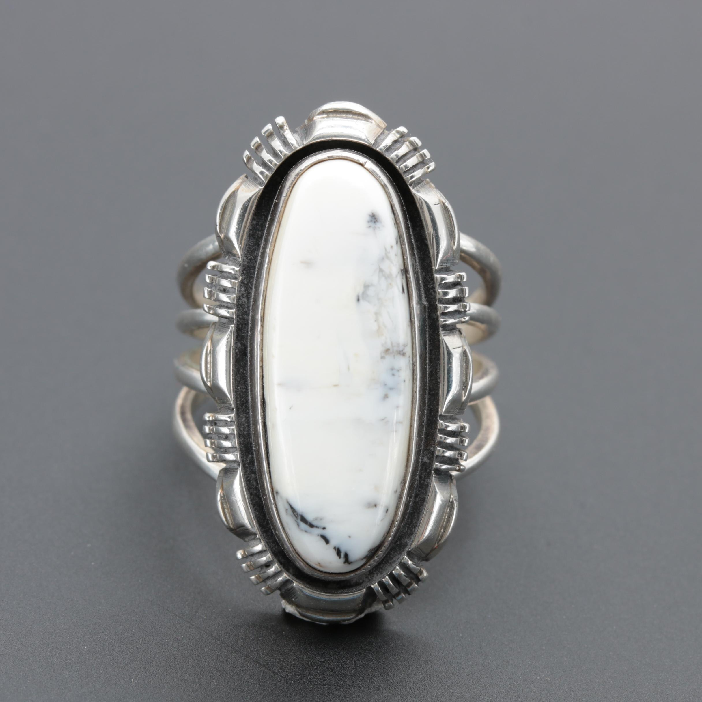 Larry Yazzie Navajo Diné Sterling Silver White Jasper Ring