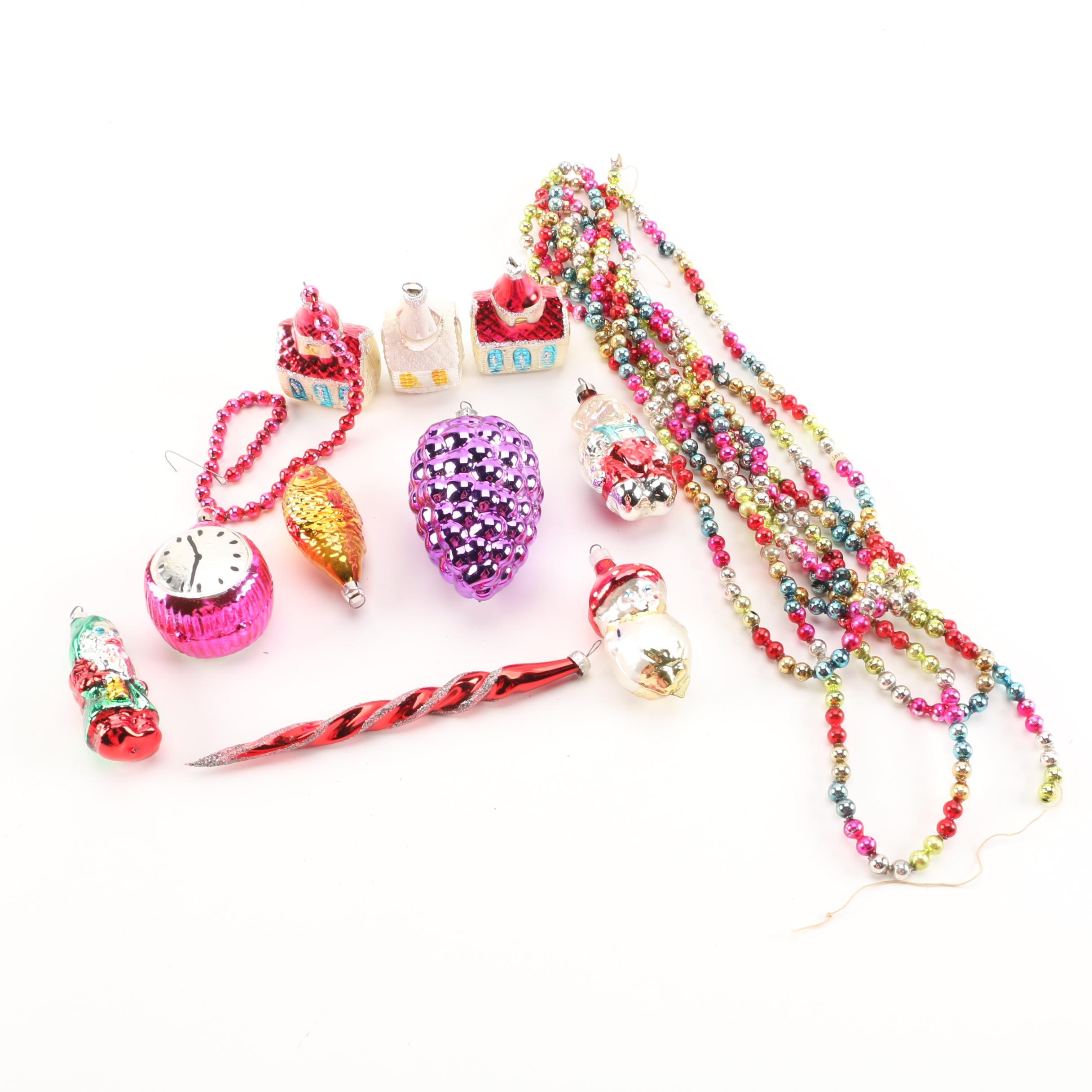 Glass Christmas Ornaments and Beaded Garland