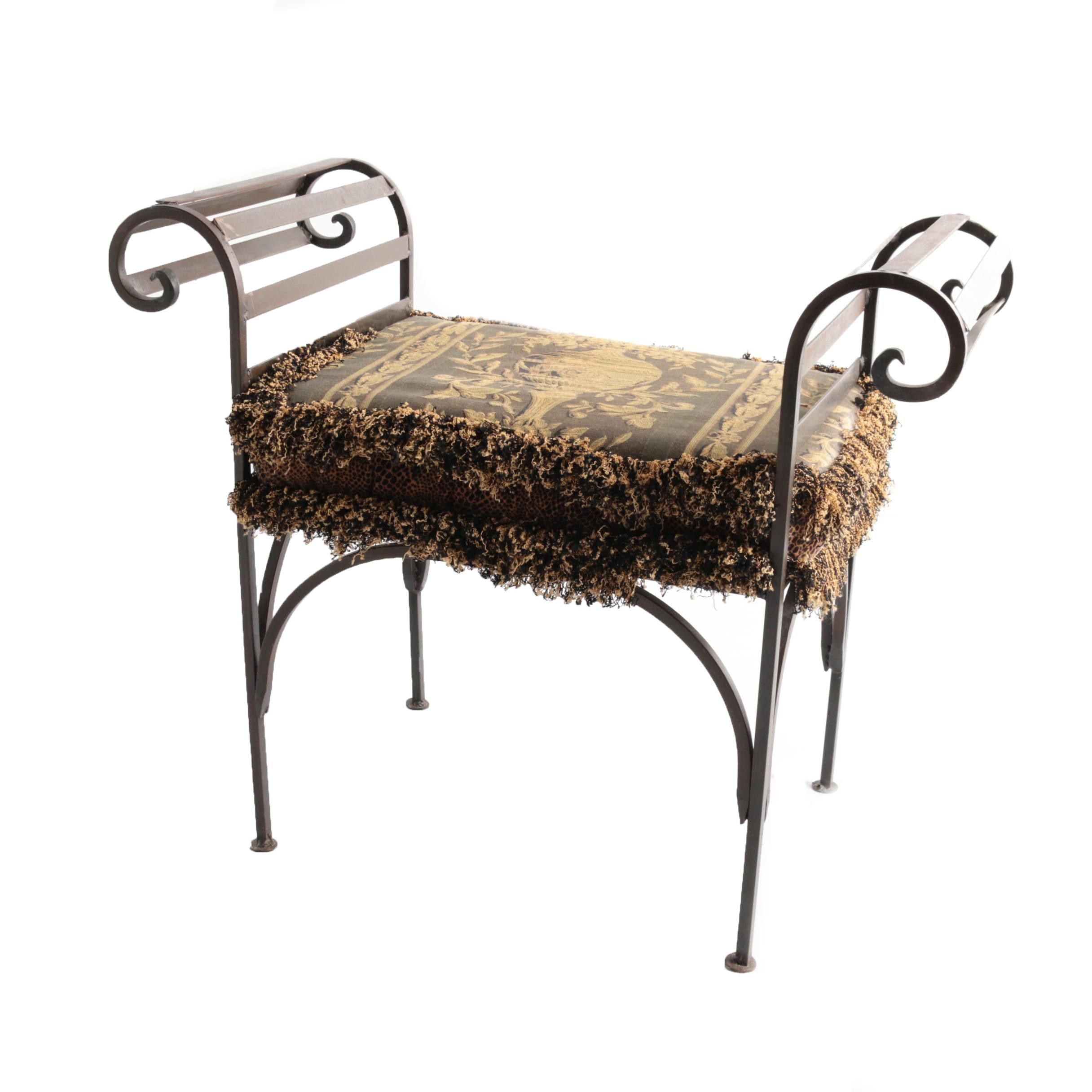 Neoclassical Style Metal Accent Bench with Upholstered Cushion