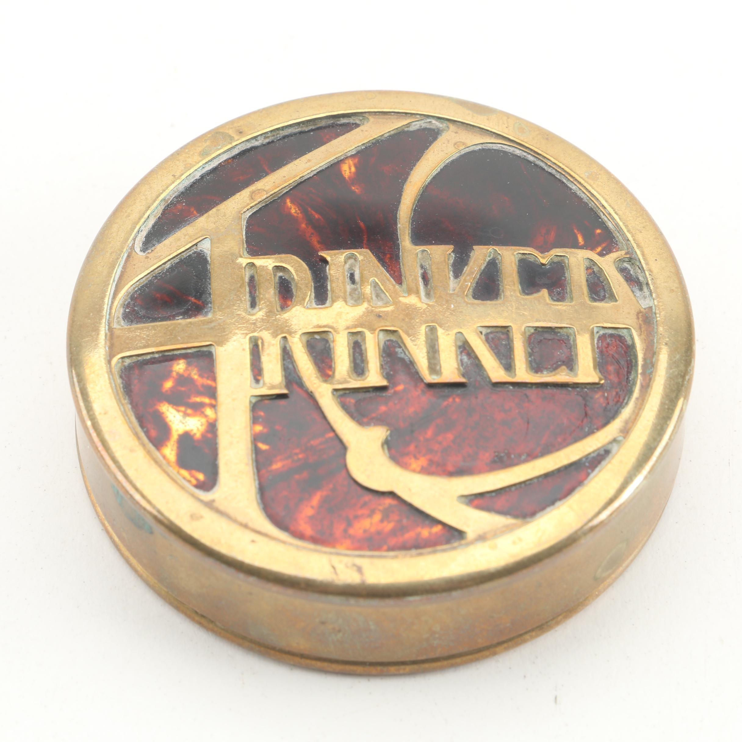 Antique Brass Trinket Box With Imitation Tortoise Shell and Enamel