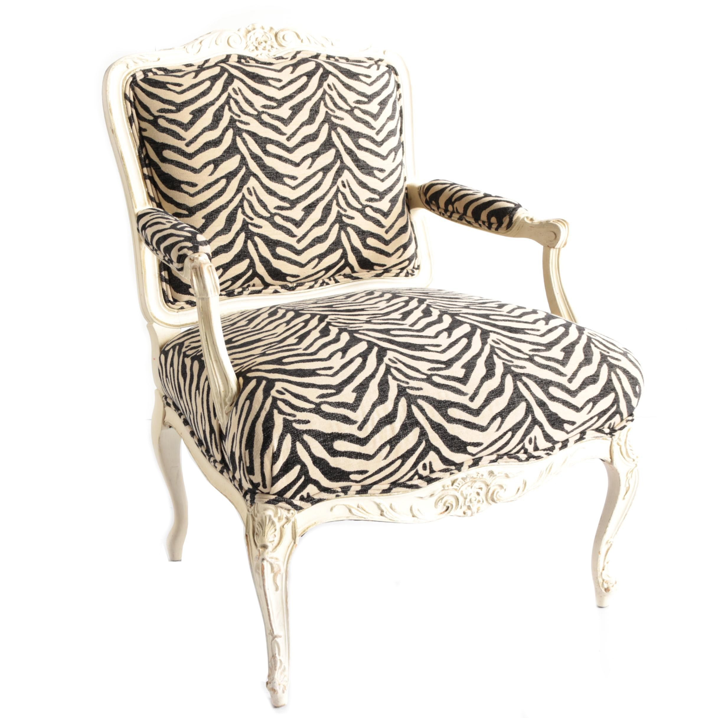 Louis XV Style Painted Armchair with Zebra Print Upholstery