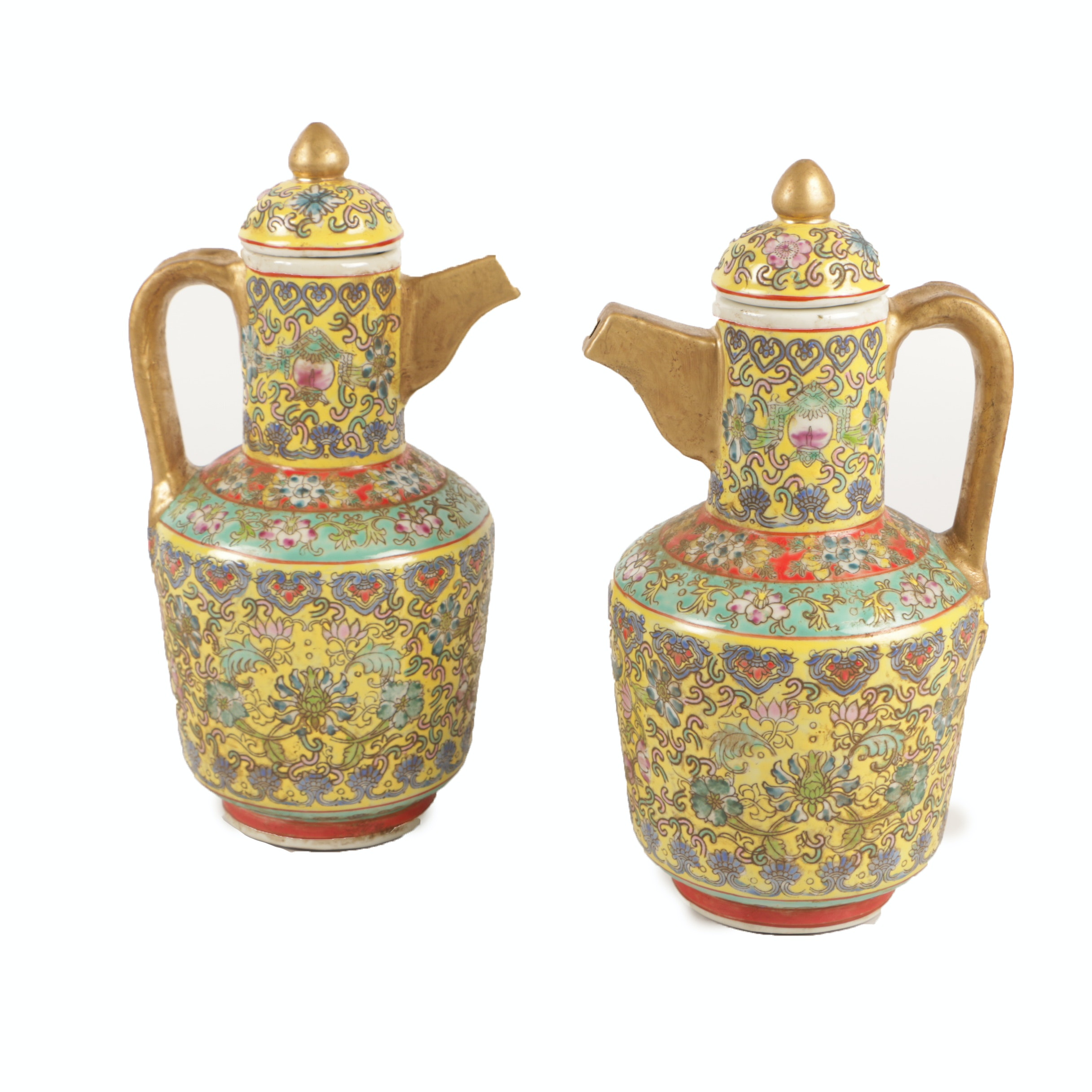 Chinese Famille Jaune Style Floral Themed Porcelain Coffee Pots with Gilt Trim