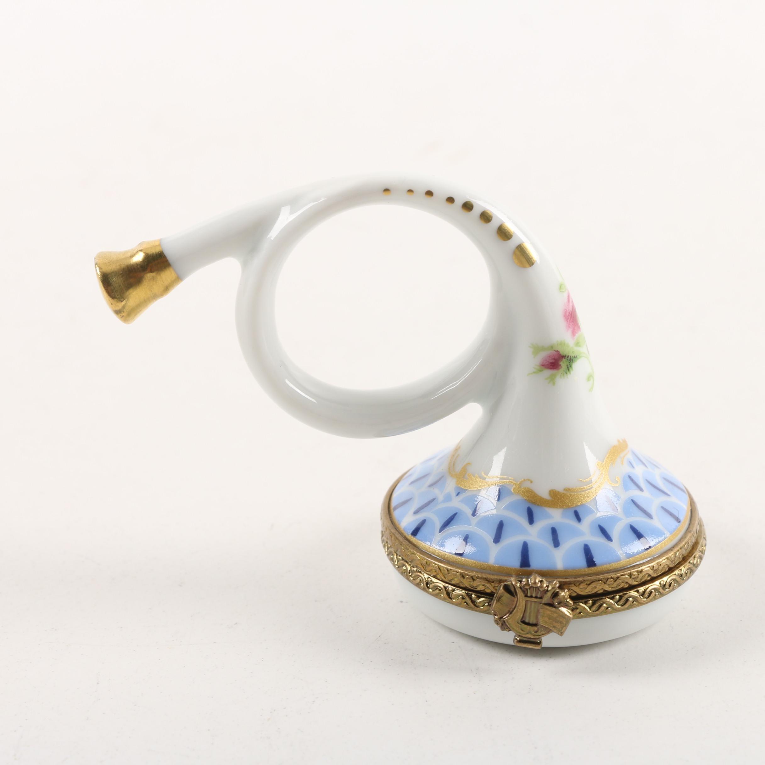 Limoges Porcelain Petite French Horn Trinket Box
