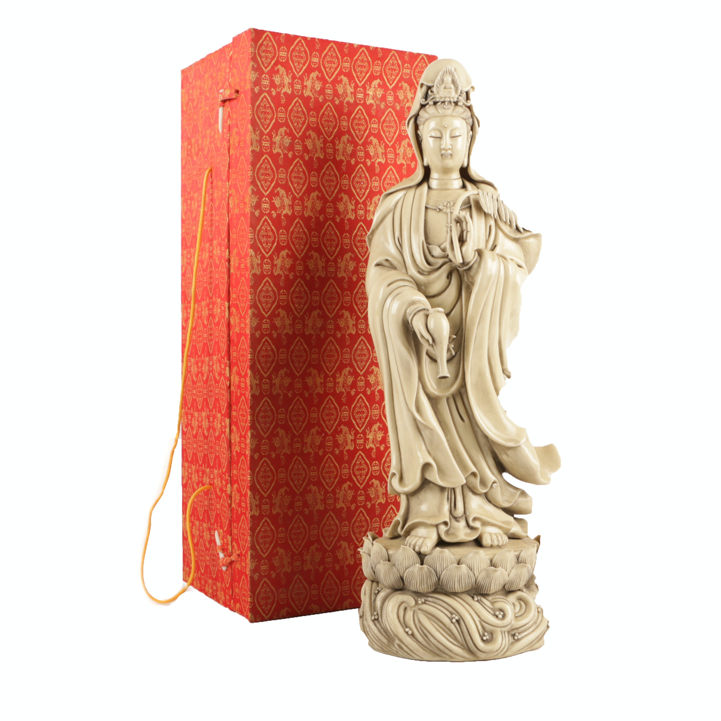 Chinese Standing Guanyin Porcelain Statue