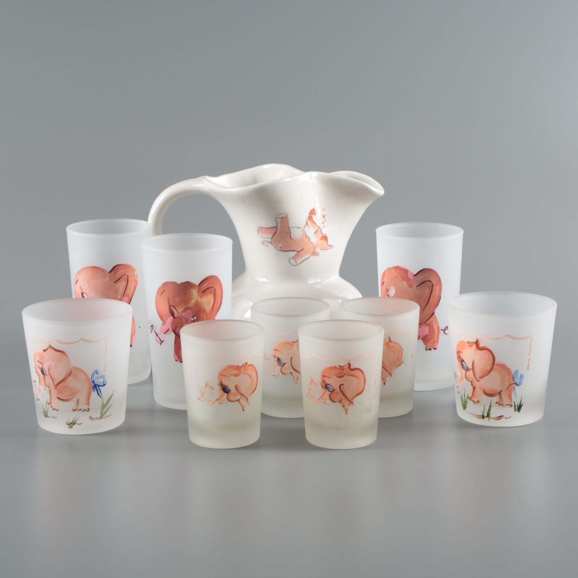 Vintage Pink Elephant Hand-Painted Frosted Glassware with Ceramic Pitcher