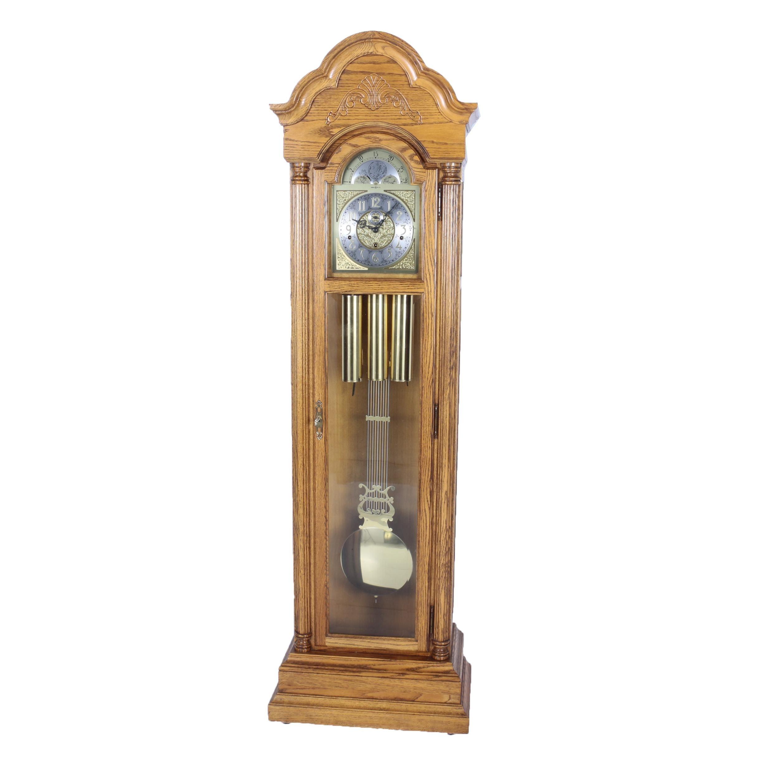 Vintage Howard Miller Oak Grandfather Clock