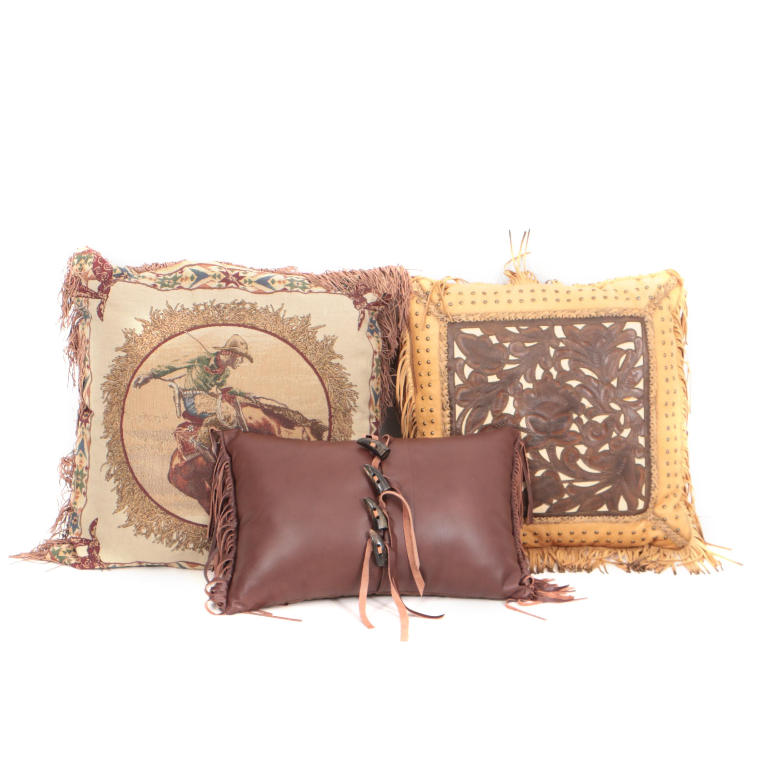 Three Western Themed Accent Throw Pillows Including Leather