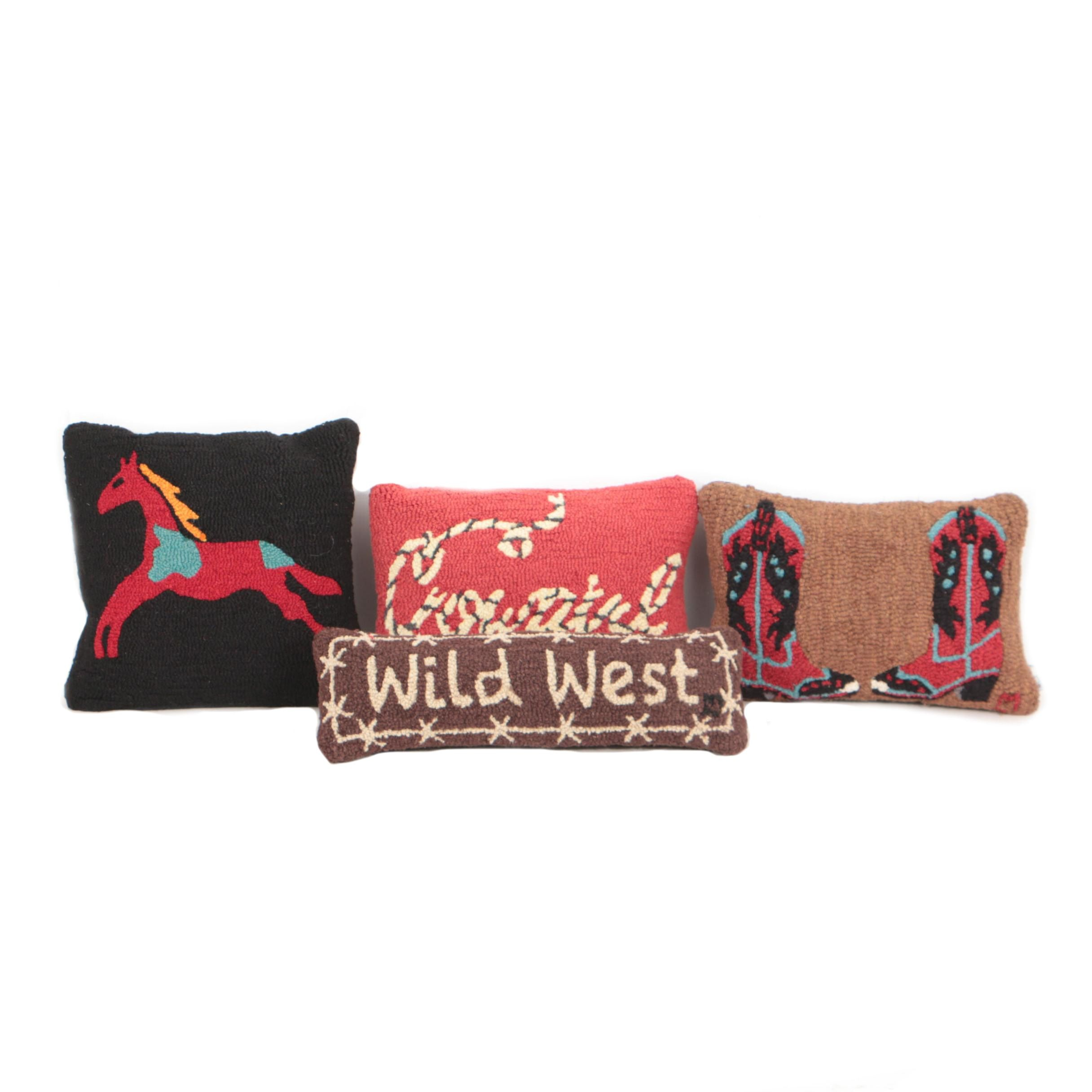 Pendleton and Chandler 4 Corners Hand Hooked Wool Throw Pillows