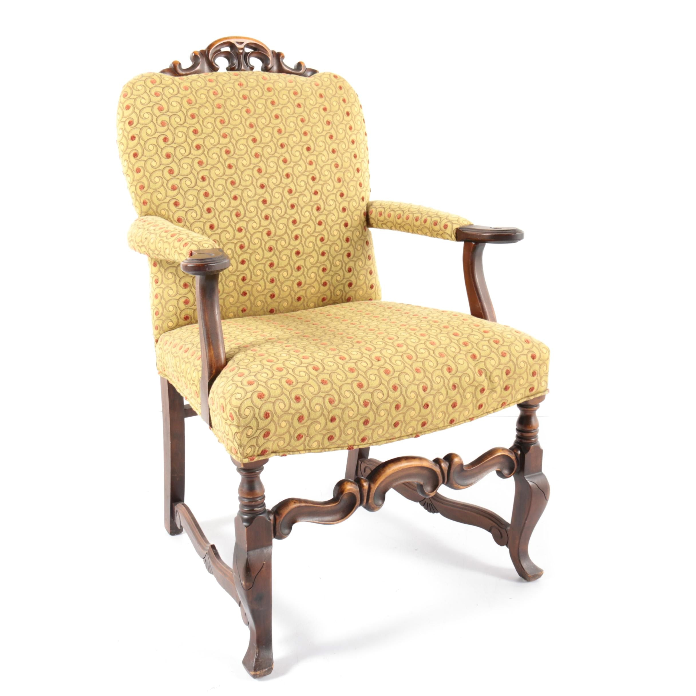 Louis XIV Style Upholstered Armchair