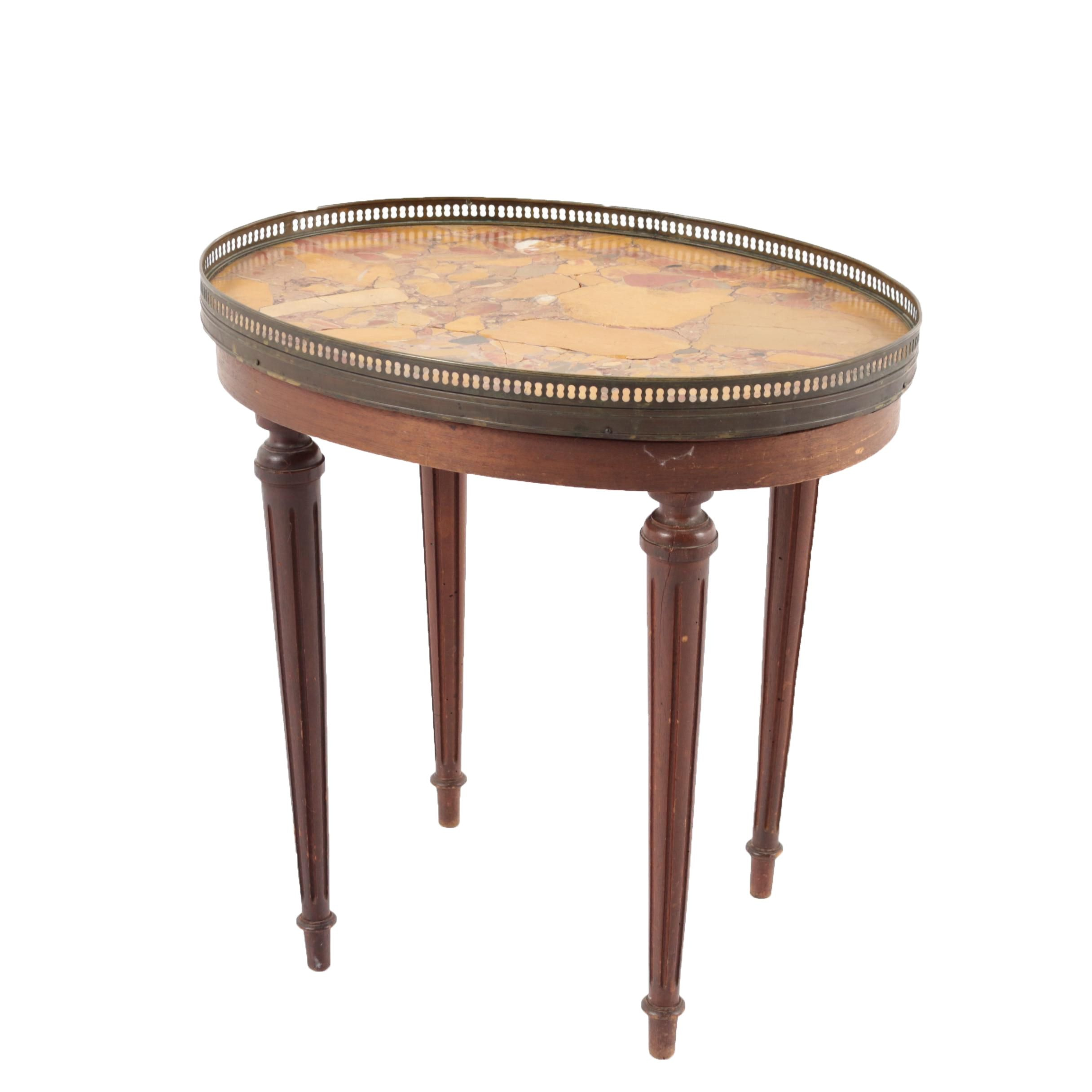 Vintage Federal Style Stone Top Accent Table