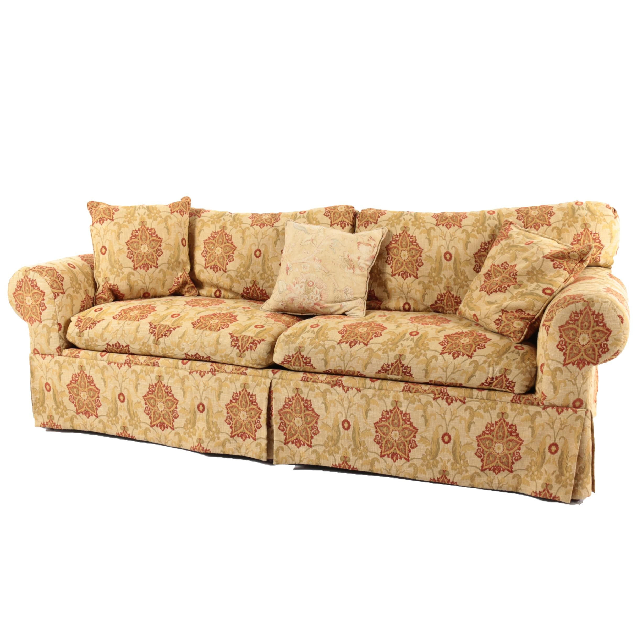 Contemporary Floral Upholstered Sofa