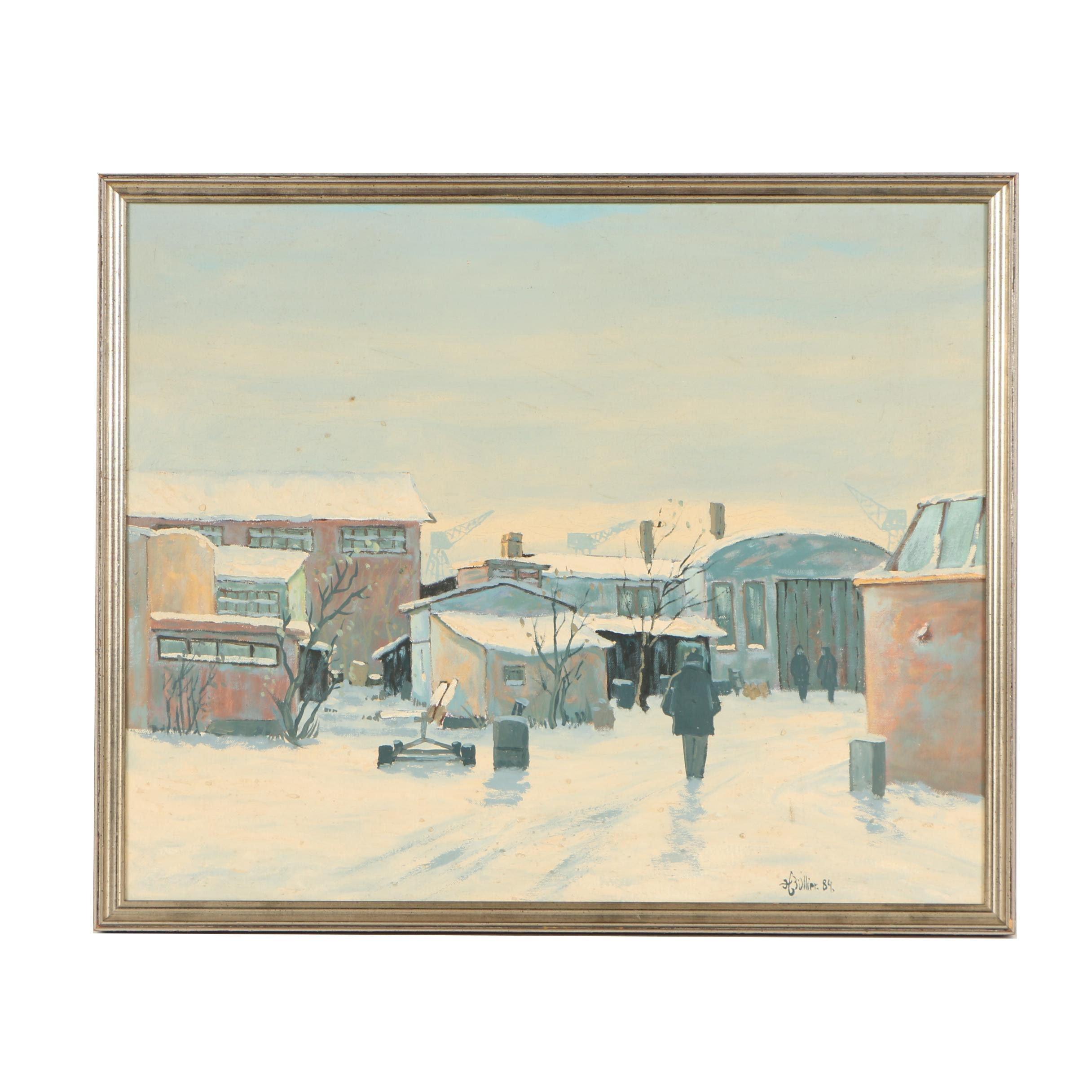 """Henning Bullier Oil Painting """"Stemning drån hamnen"""""""