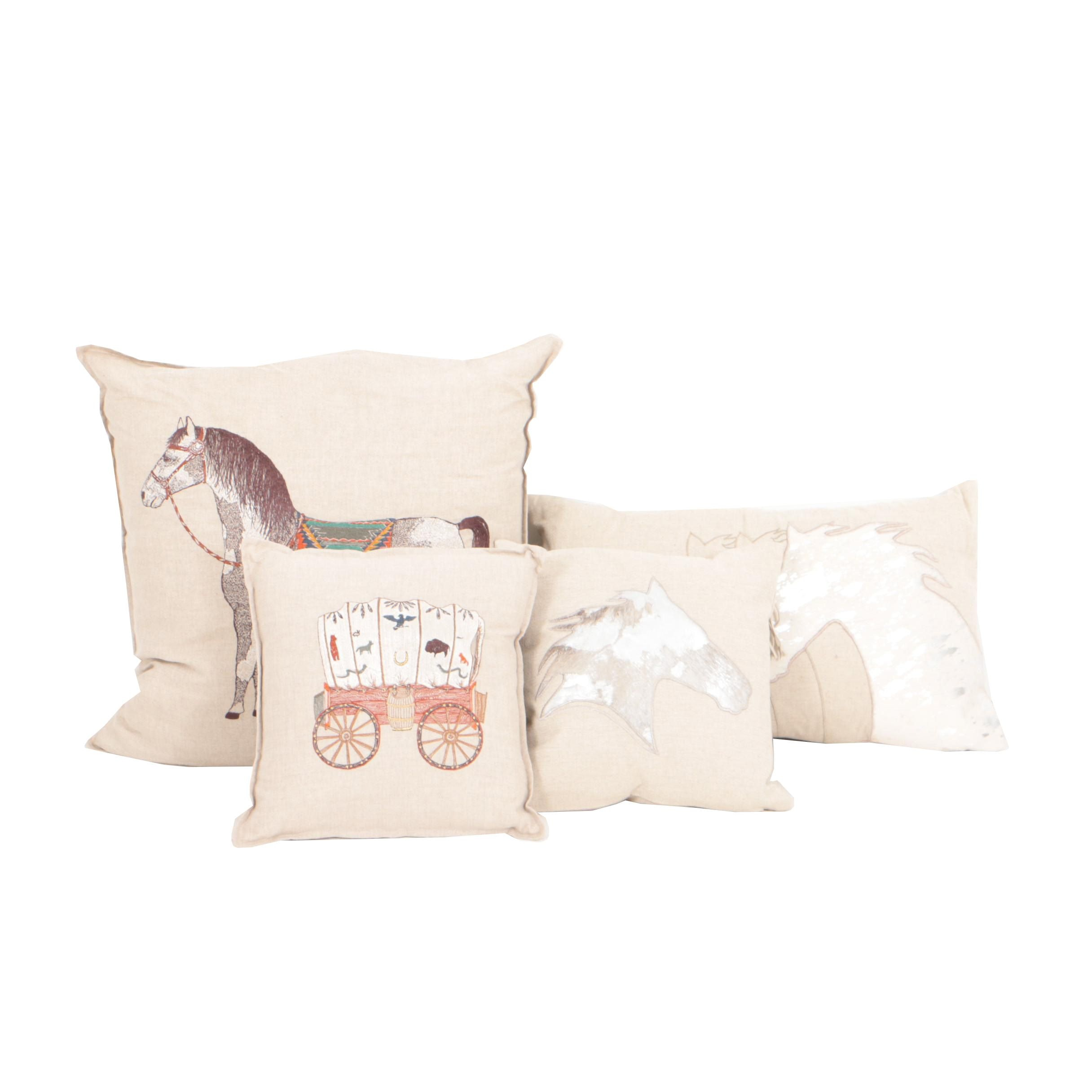 Four Linen Embroidered Throw Pillows Including Coral & Tusk