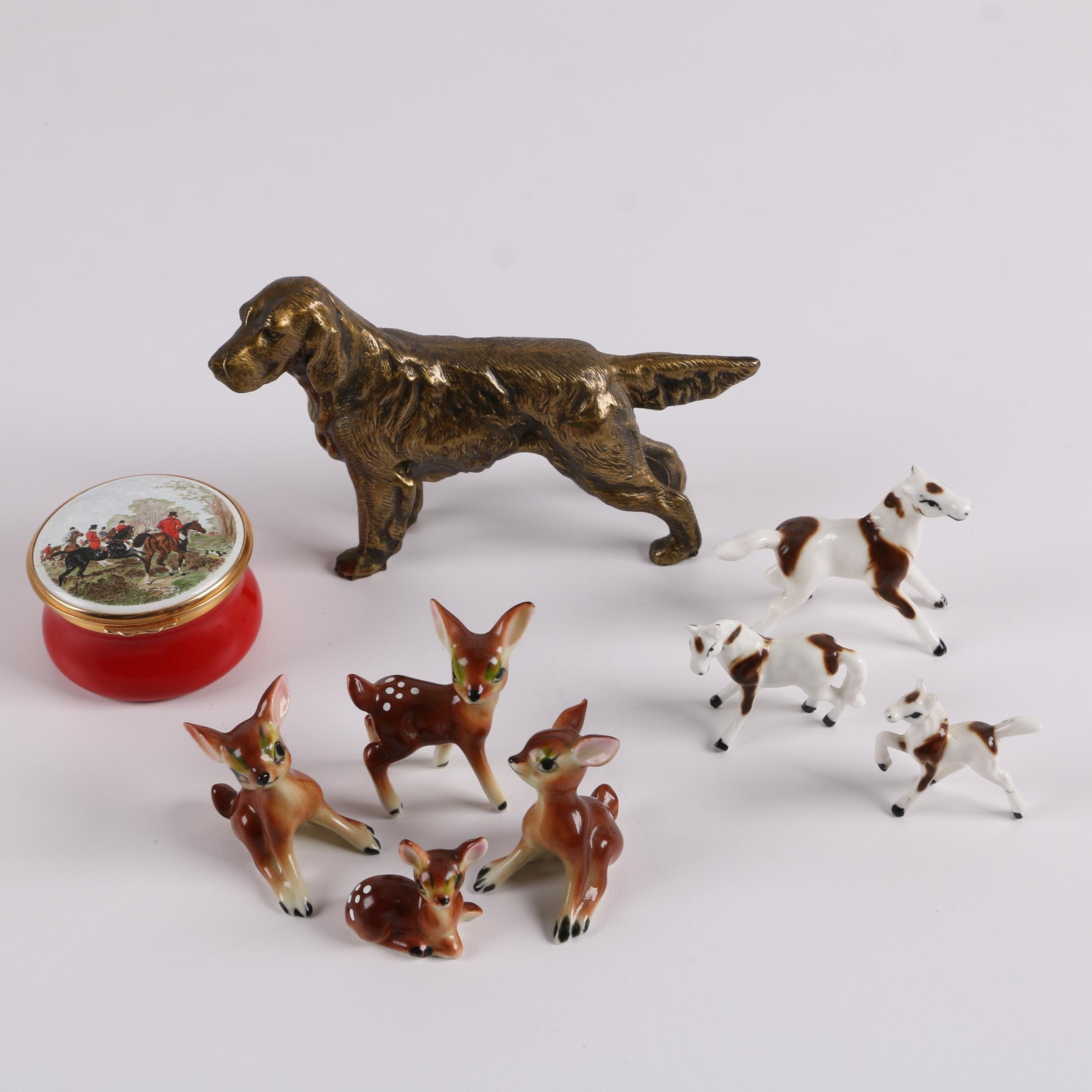 Ceramic and Brass Animal Figurines with Enameled Hunting Themed Trinket Box