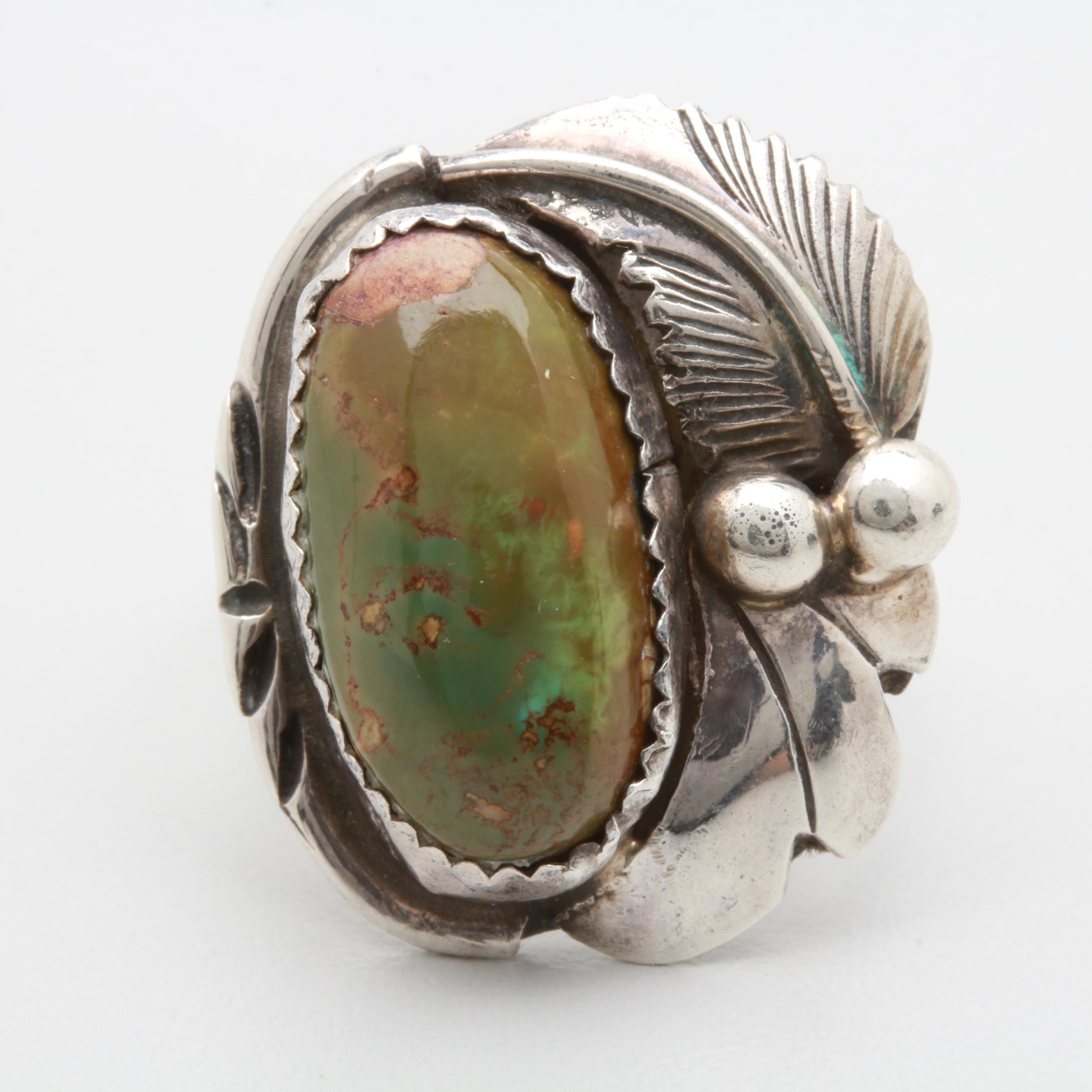 Julia Martinez Navajo Diné Sterling Silver Green Turquoise Ring