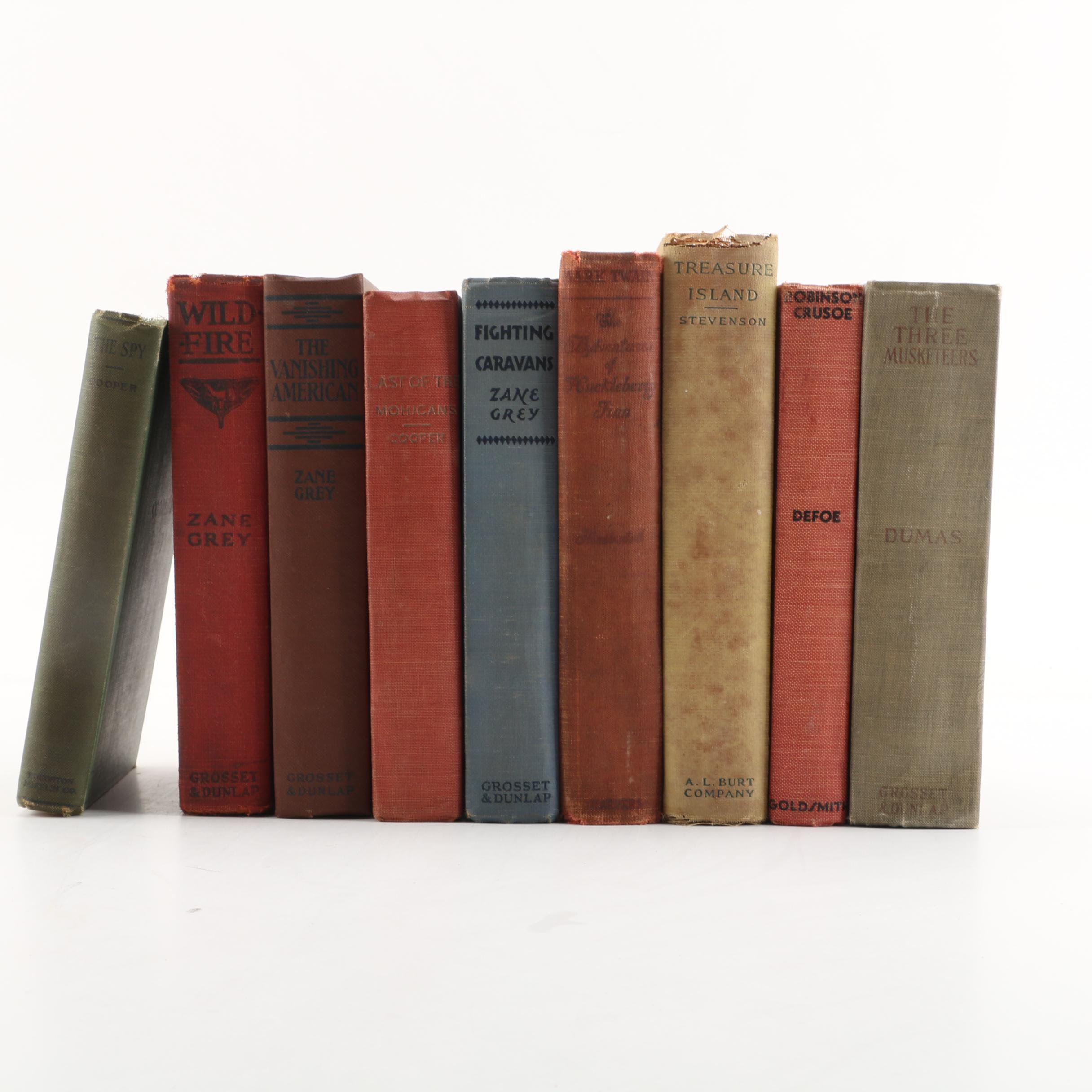 Vintage Book Collection including Mark Twain and Zane Grey