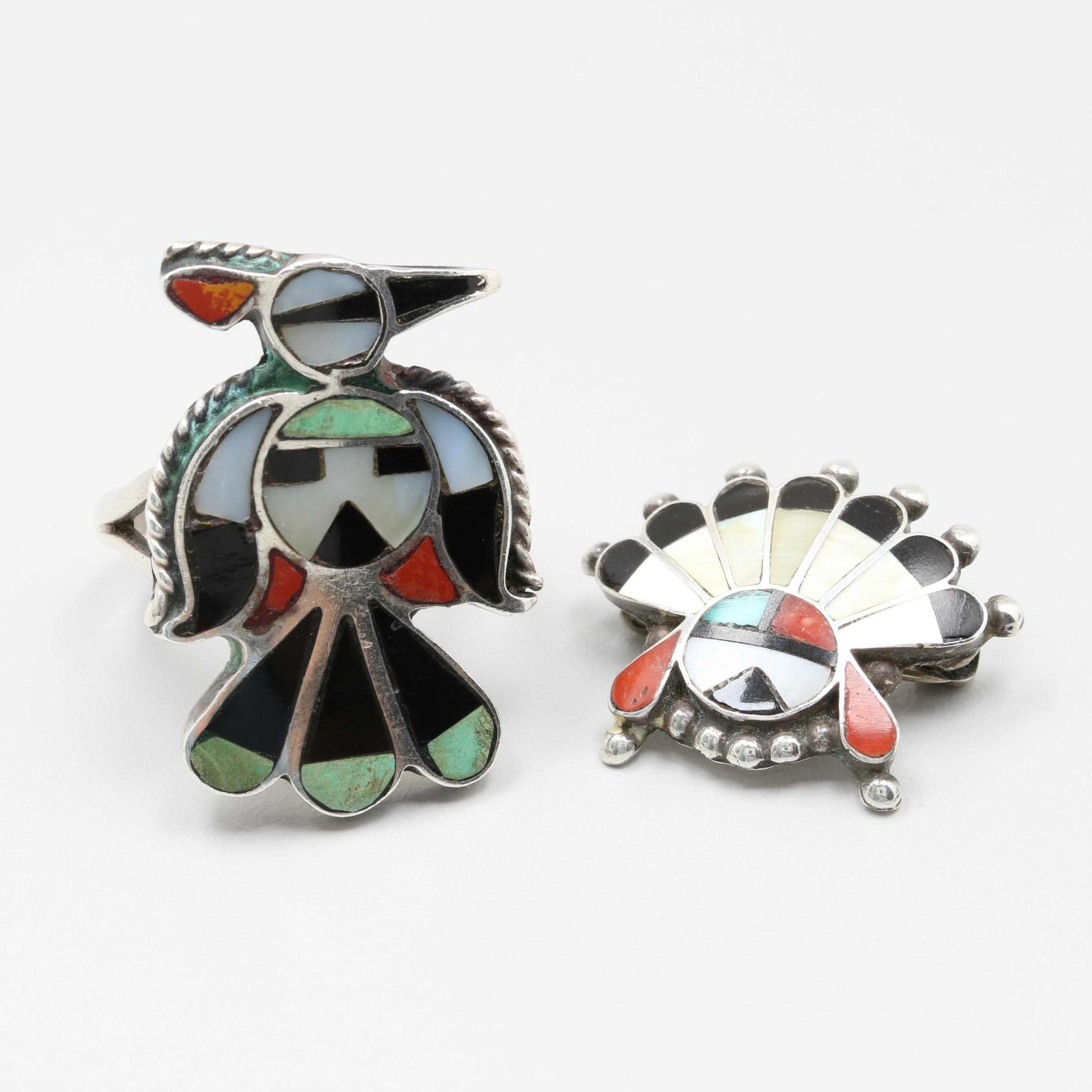Vintage Southwestern Style Multi-Stone Inlay Jewelry Including Taxco