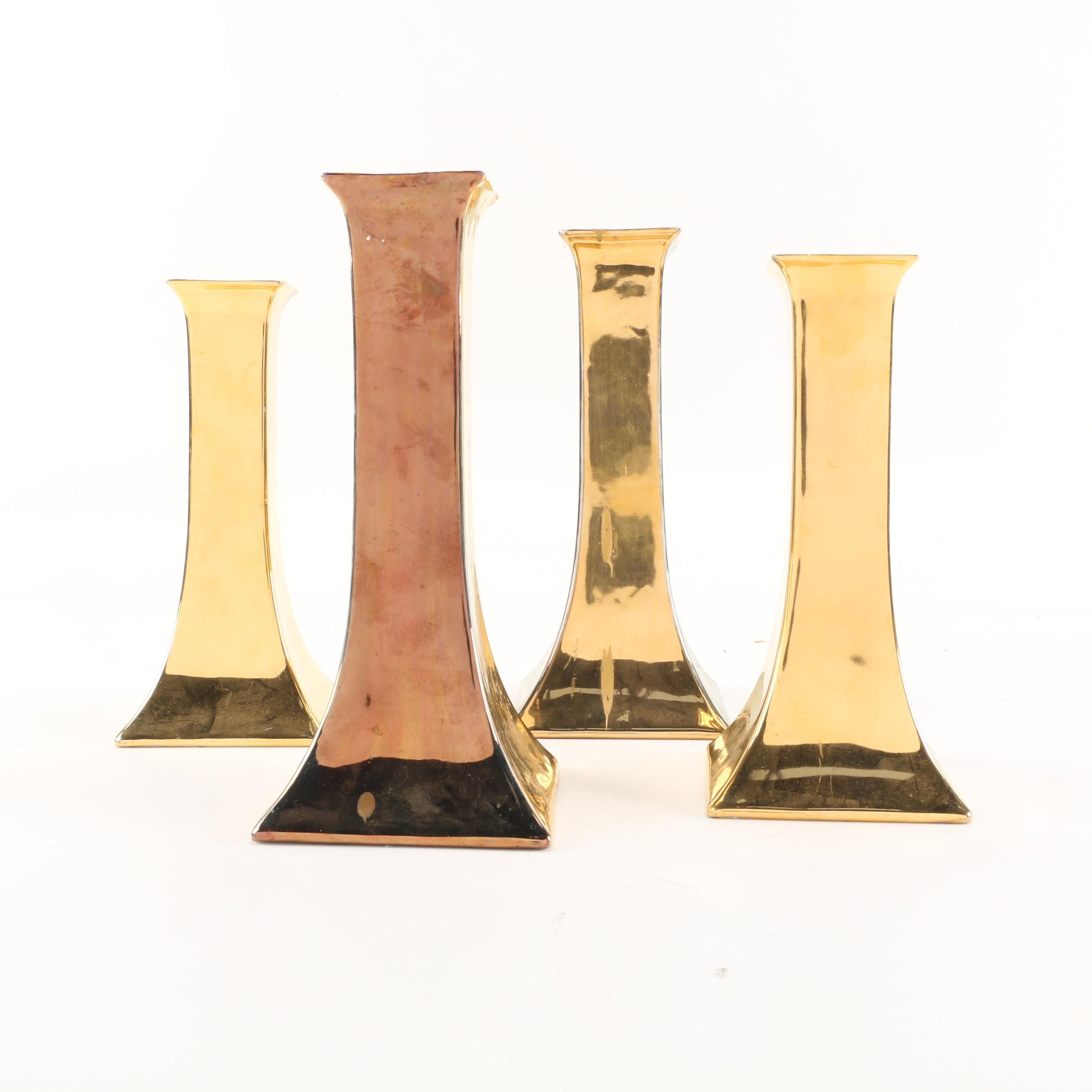 Czechoslovakian Royal Epiag Gold Luster Porcelain Candlestick Holders