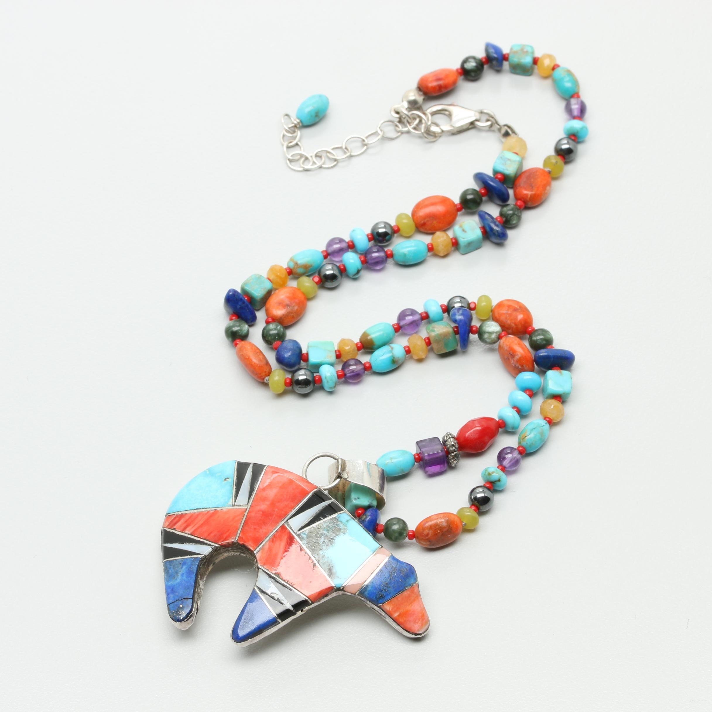 Southwestern Style Sterling Silver Bear Motif Pendant Necklace